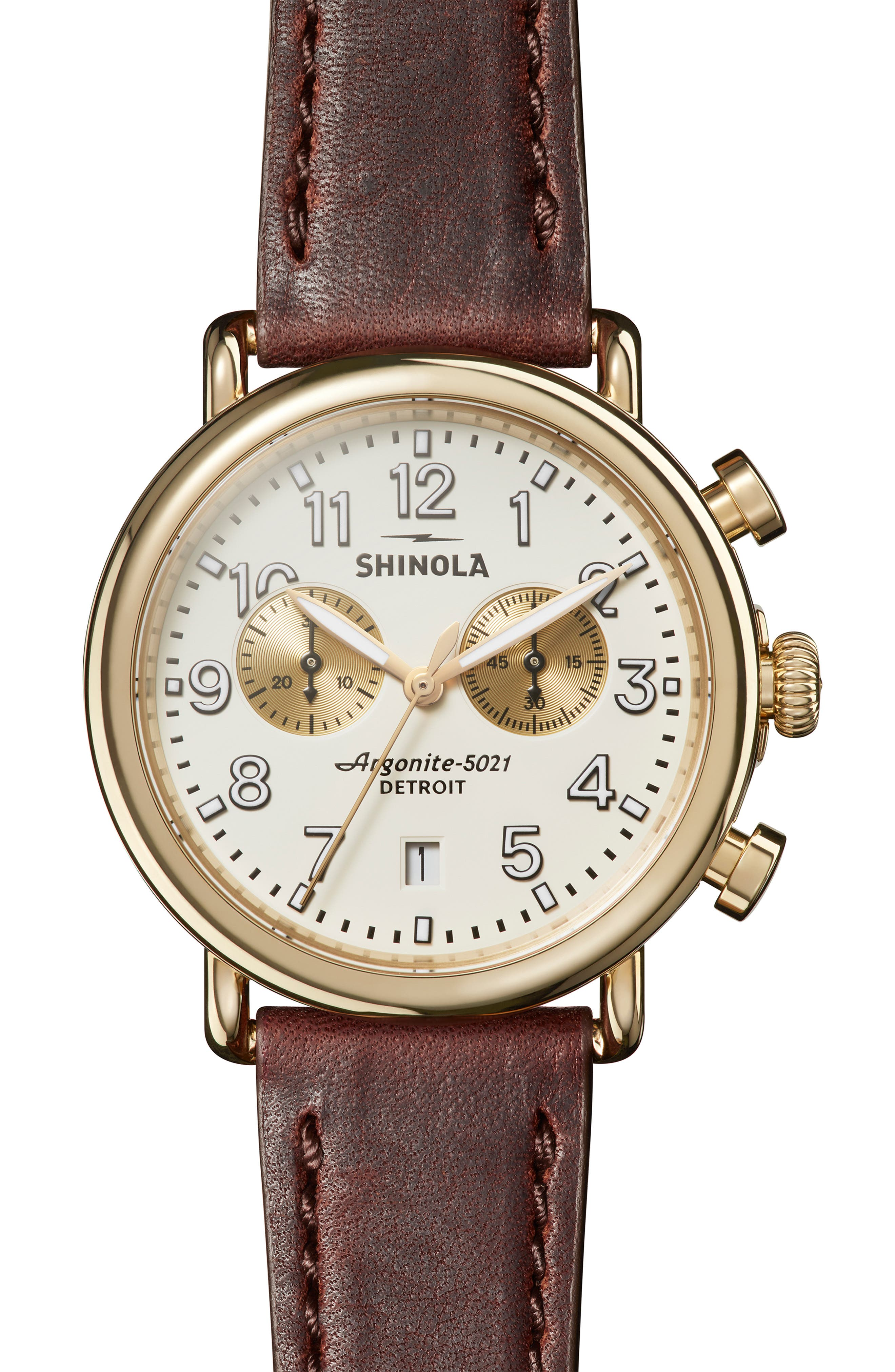 SHINOLA 'The Runwell Chrono' Leather Strap Watch, 41mm, Main, color, BROWN CATTAIL/ IVORY/ GOLD