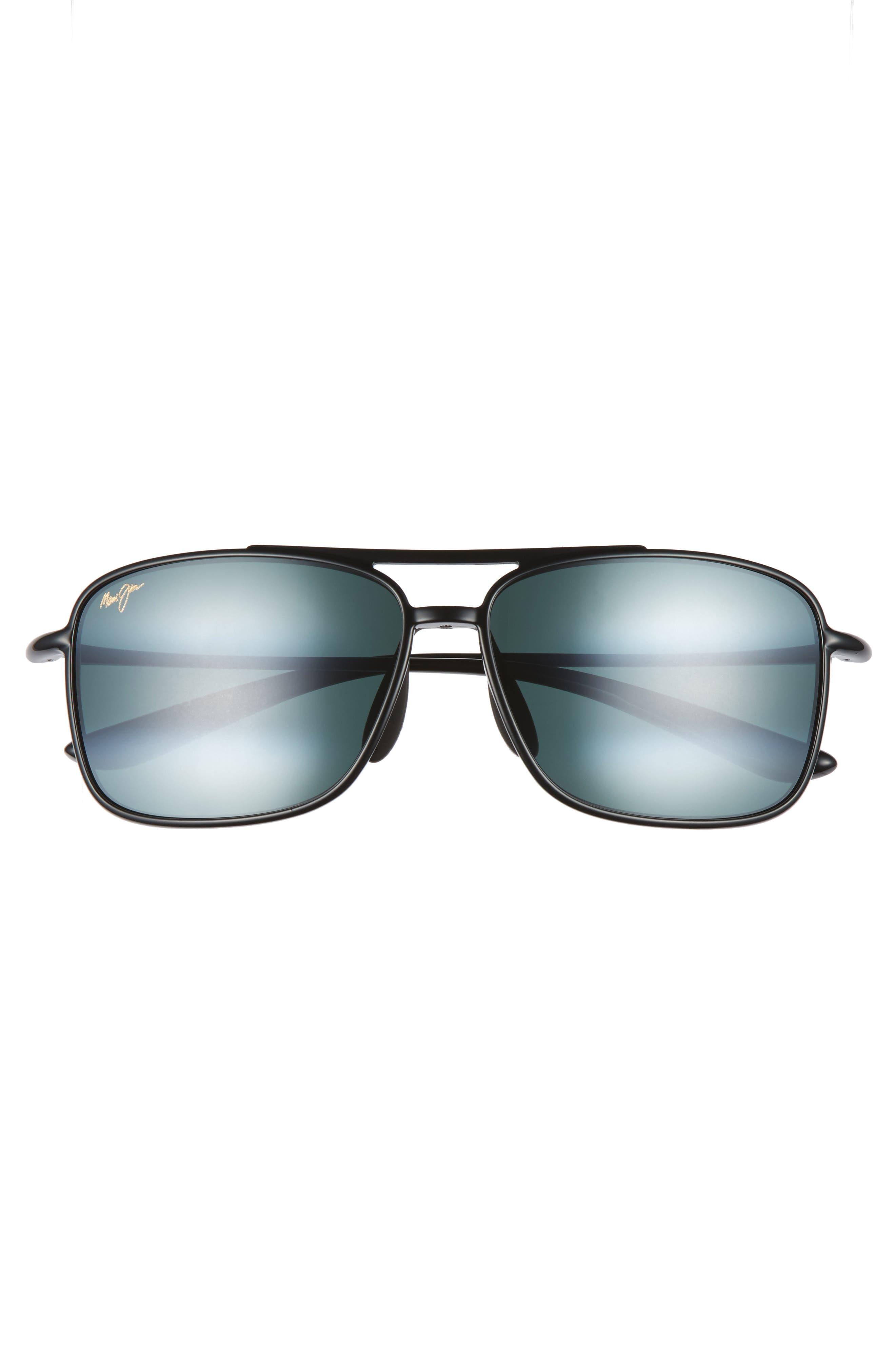 MAUI JIM, Kaupo Gap 61mm PolarizedPlus2<sup>®</sup> Sunglasses, Alternate thumbnail 2, color, GLOSS BLACK/ NEUTRAL GREY