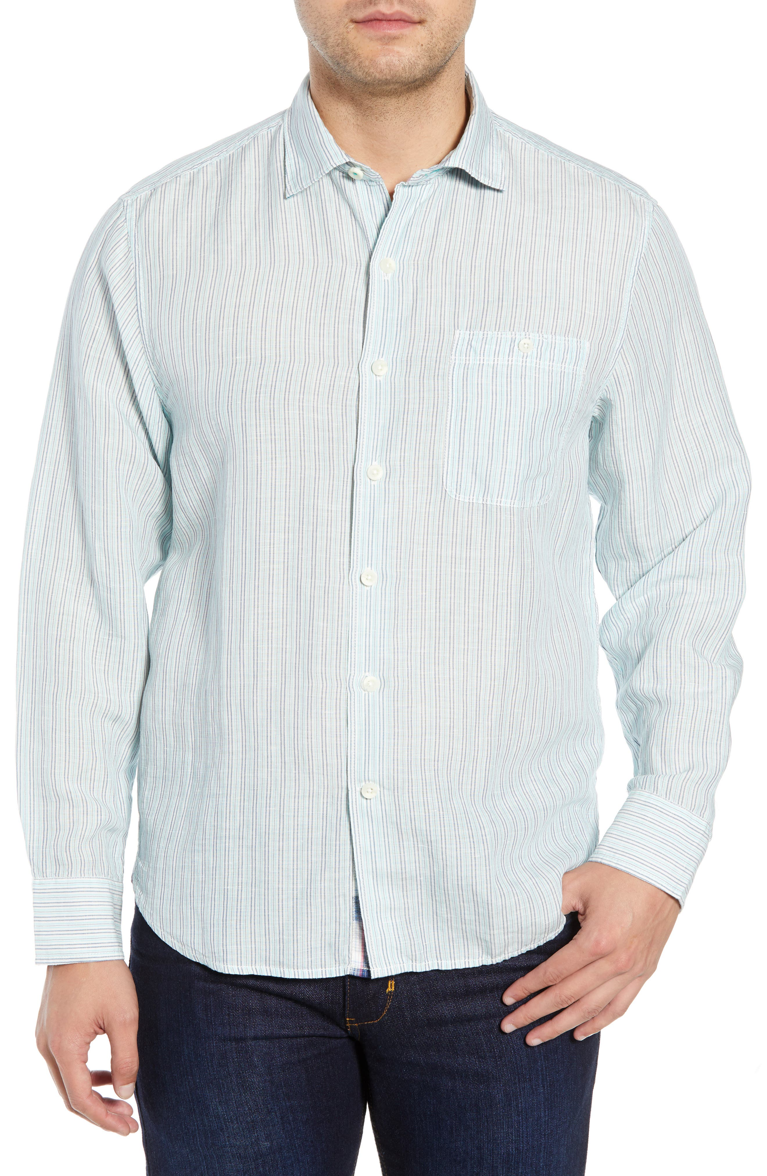 TOMMY BAHAMA, Sand Stripe Linen Blend Sport Shirt, Main thumbnail 1, color, BLUE SWELL