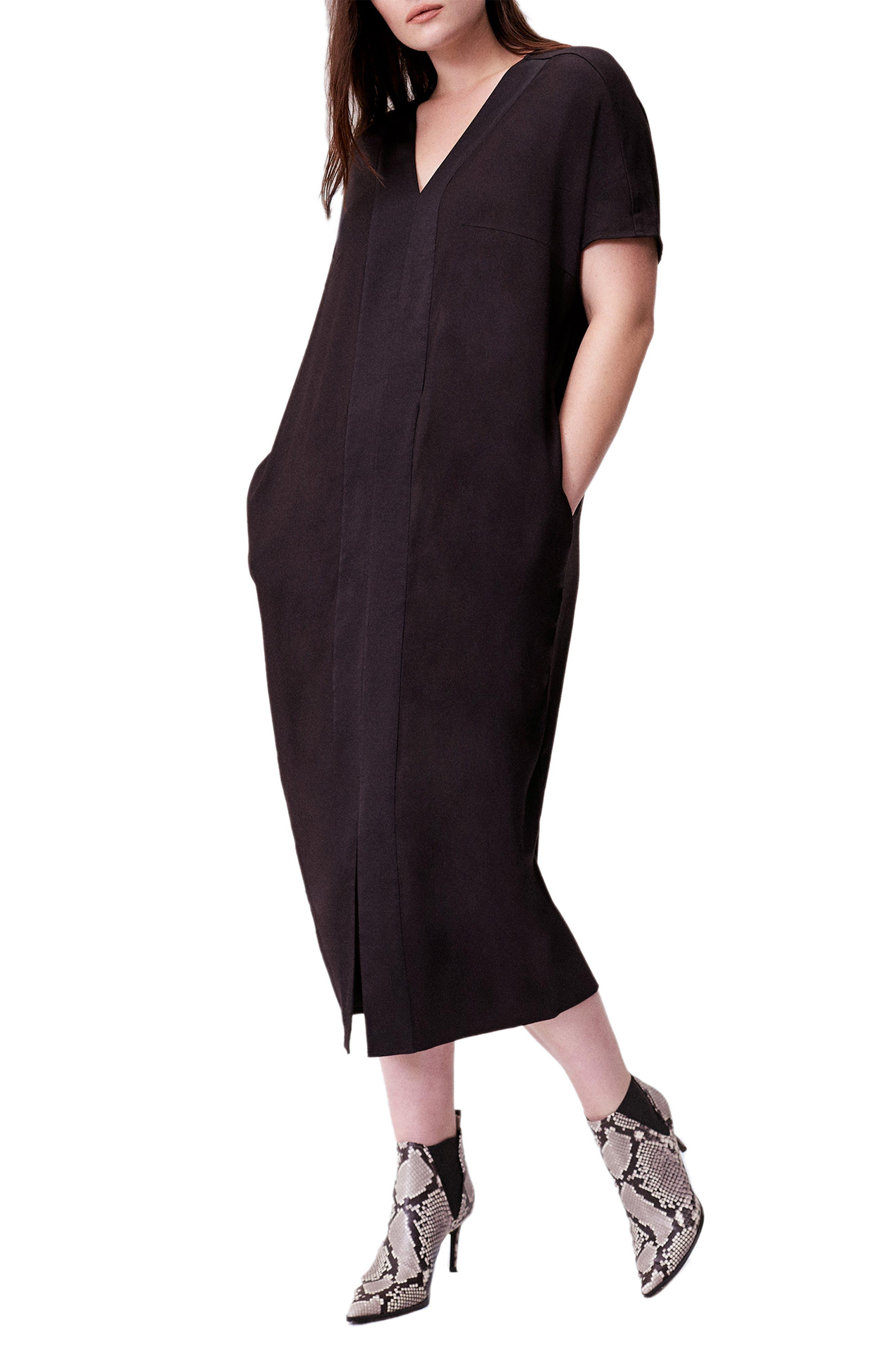 UNIVERSAL STANDARD, Crosby Caftan Dress, Main thumbnail 1, color, BLACK