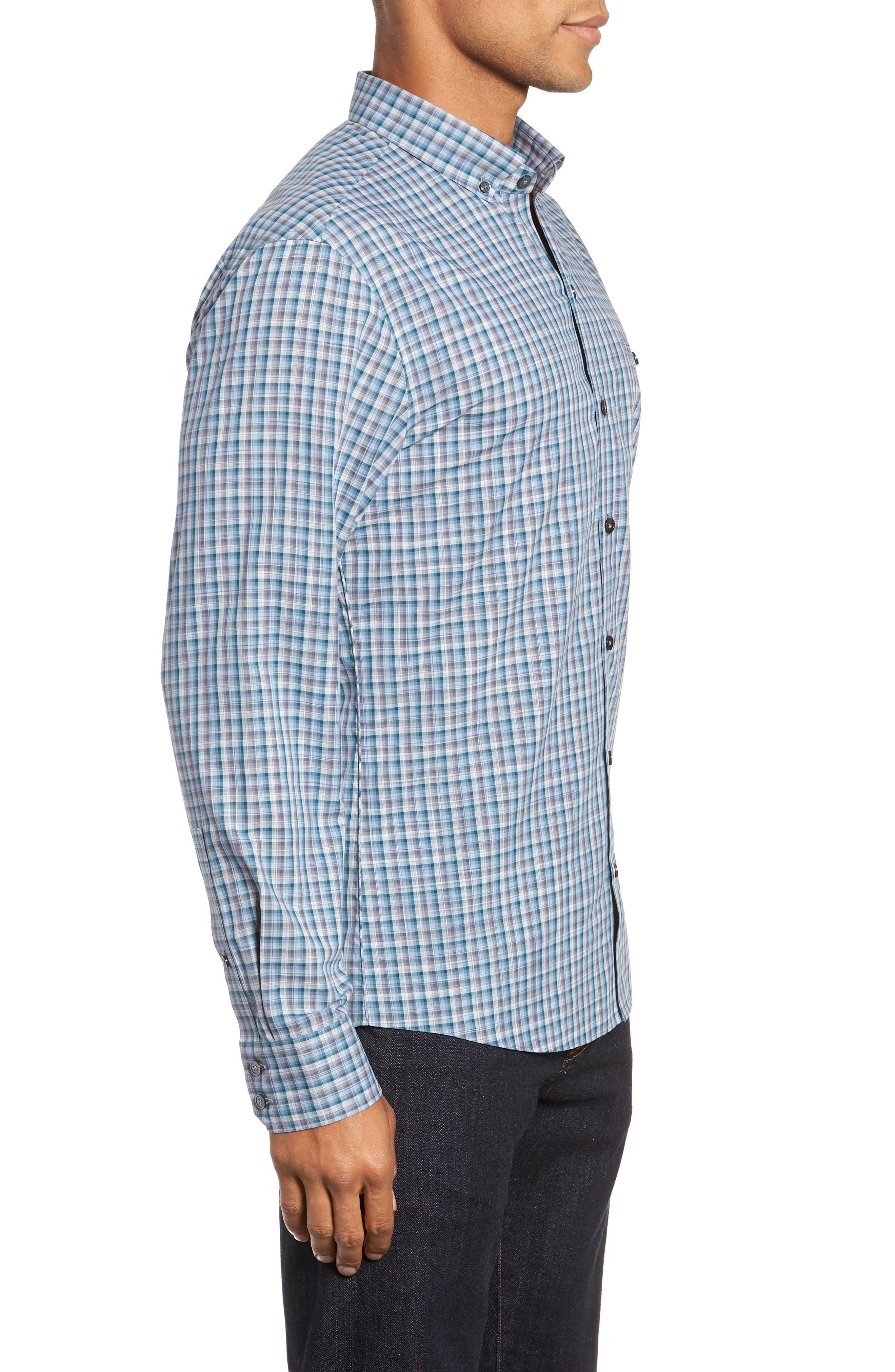ZACHARY PRELL, Godinez Regular Fit Check Sport Shirt, Alternate thumbnail 4, color, 475