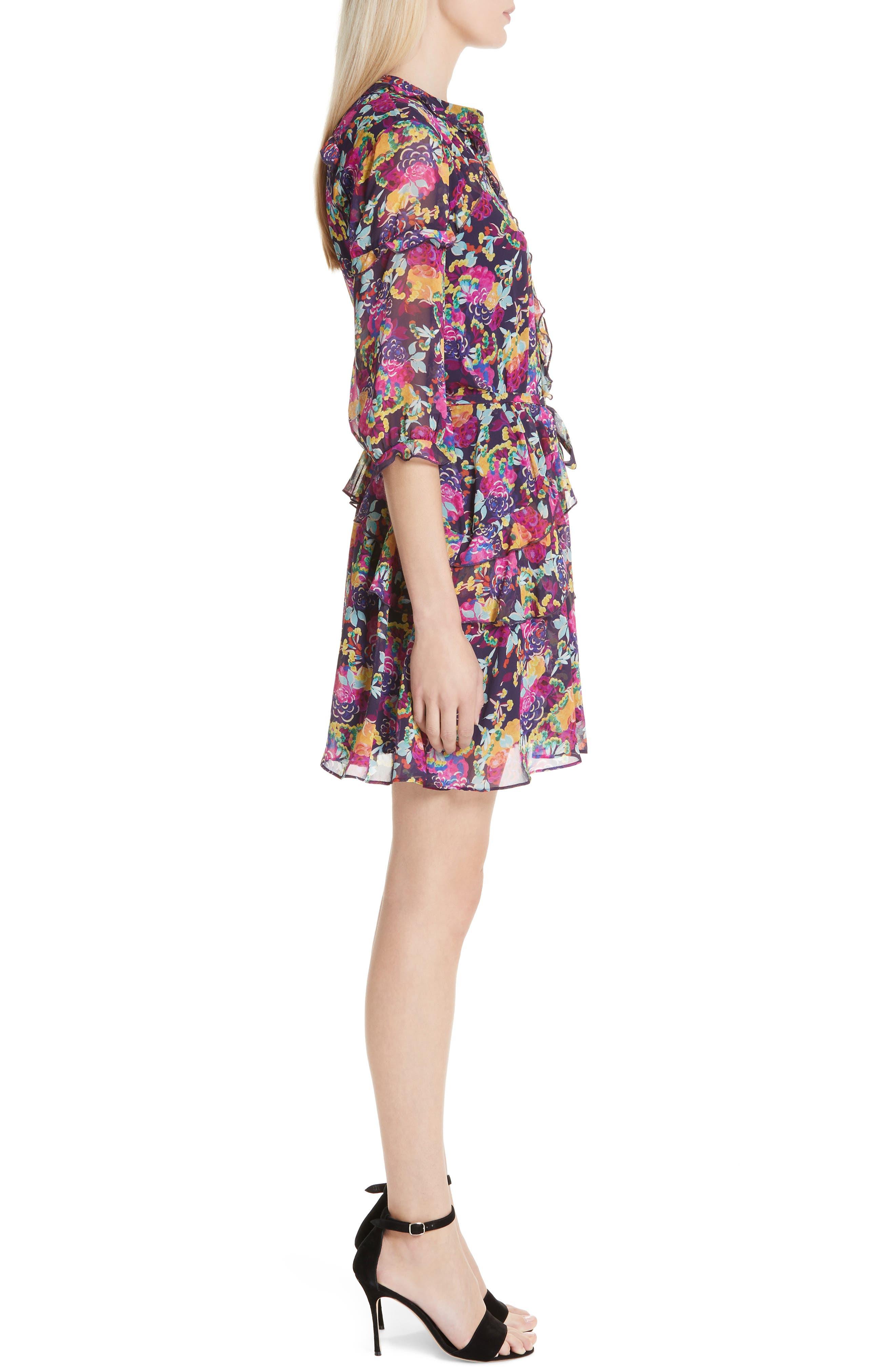 SALONI, Tilly Ruffle Silk Dress, Alternate thumbnail 3, color, CAMELLIA