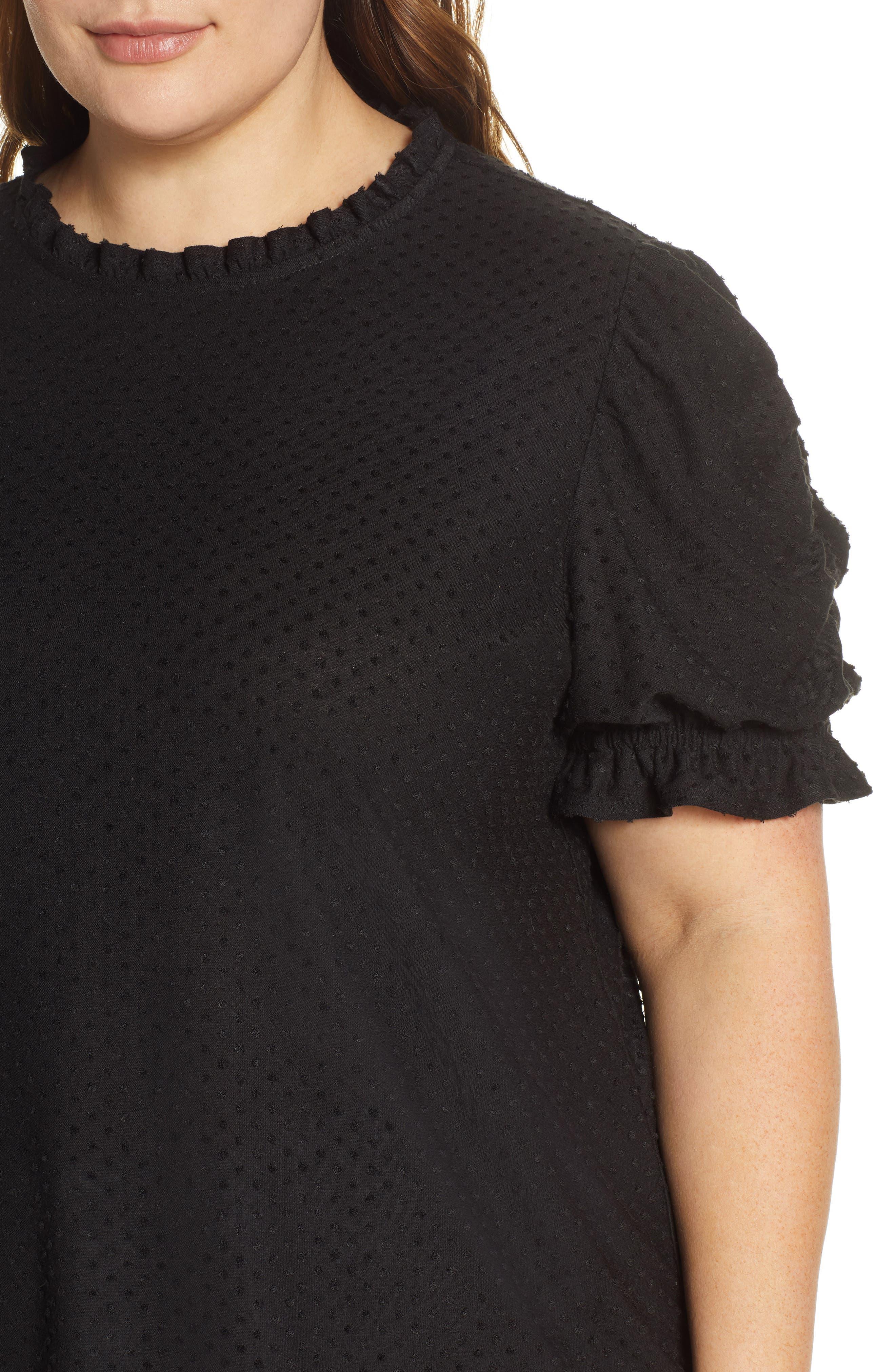 GIBSON, x International Women's Day Rebecca Clip Dot Ruffle Sleeve Blouse, Alternate thumbnail 4, color, CHARCOAL