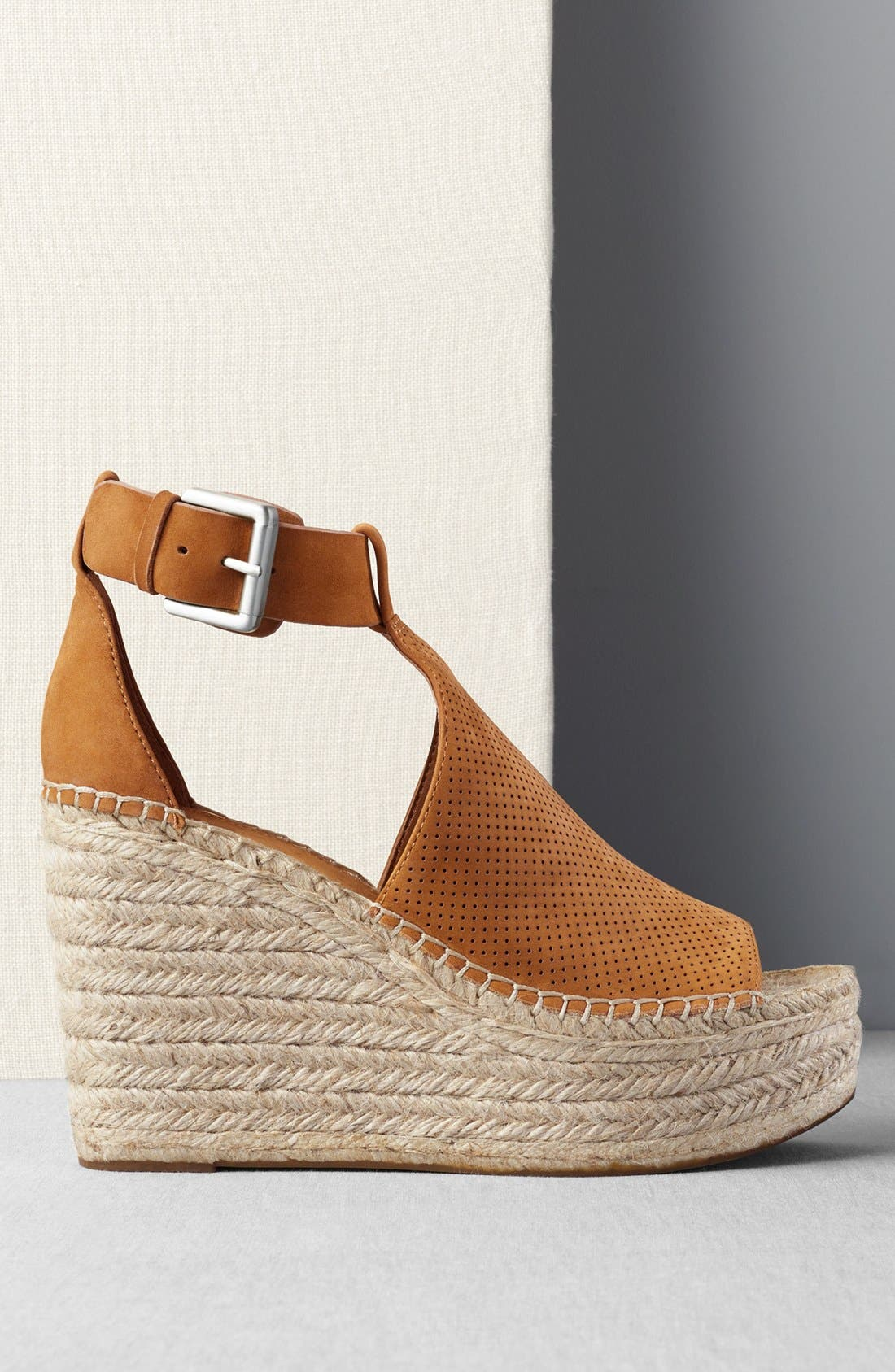 MARC FISHER LTD, Annie Perforated Espadrille Platform Wedge, Alternate thumbnail 9, color, 435