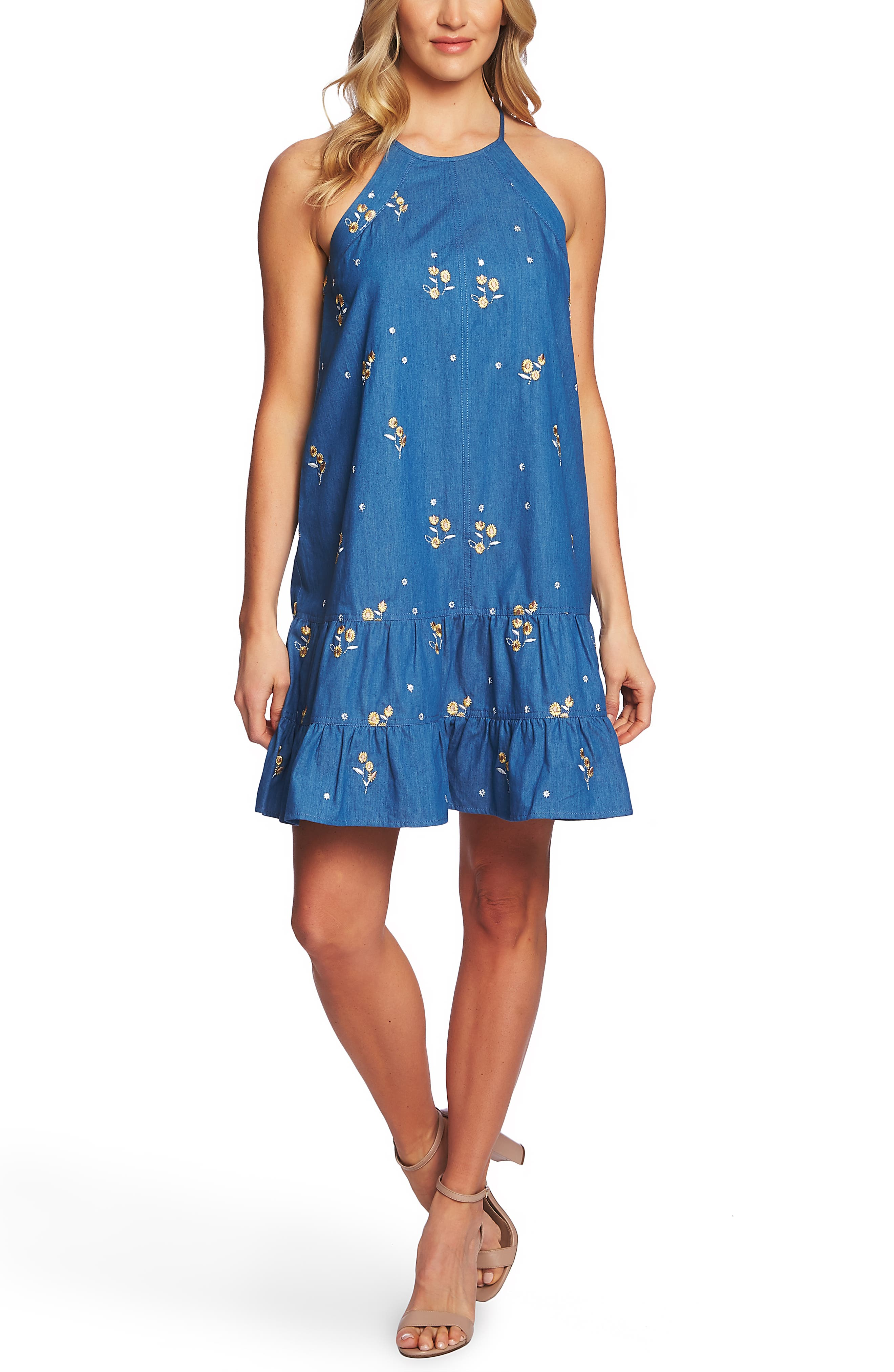 Cece Embroidered Ruffle Shift Dress, Blue