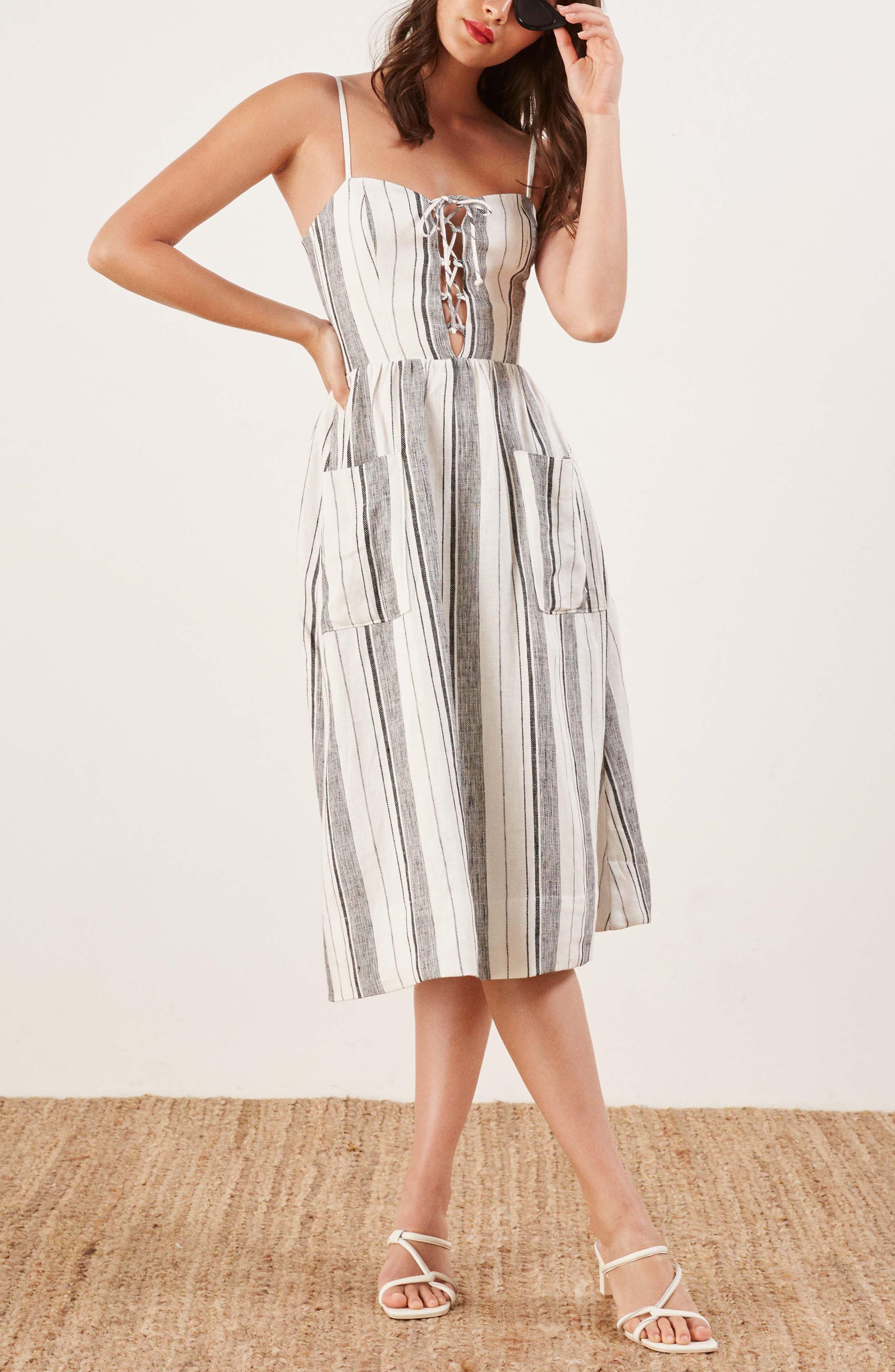 REFORMATION, Ellen Linen Midi Dress, Alternate thumbnail 6, color, 100