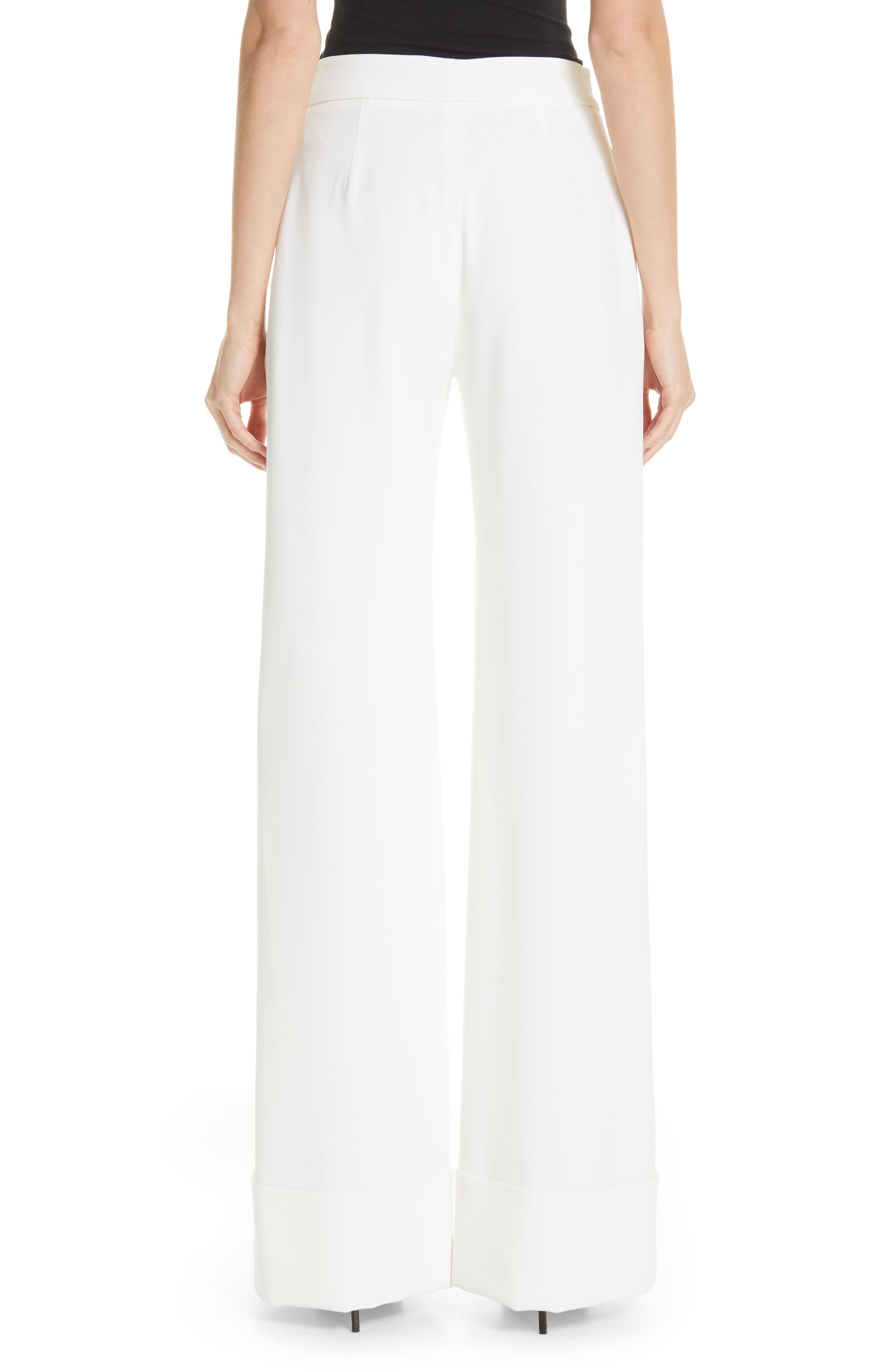 BRANDON MAXWELL, Wide Leg Cuff Pants, Alternate thumbnail 2, color, IVORY