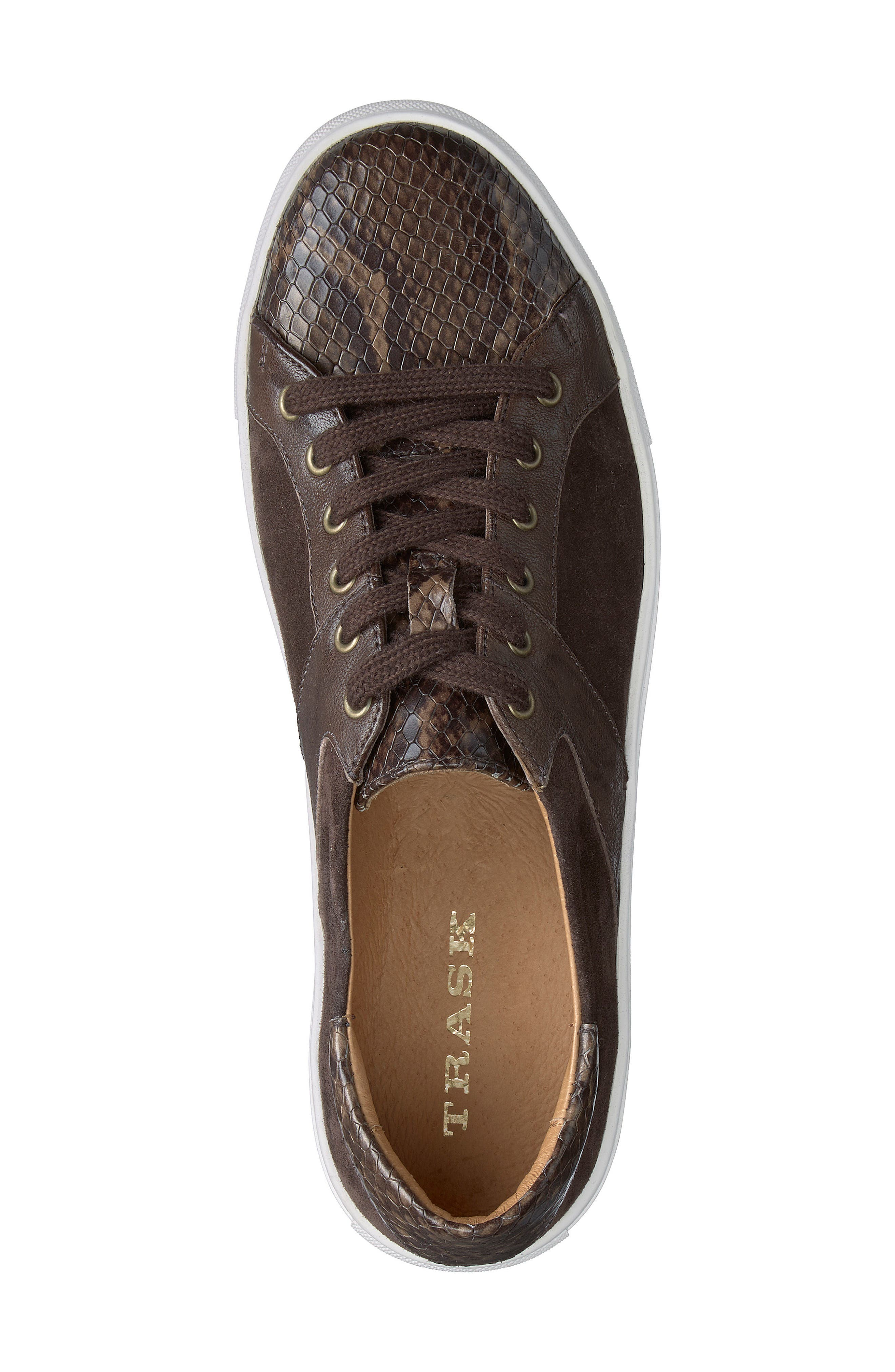TRASK, Lindsey Sneaker, Alternate thumbnail 5, color, BROWN PRINT LEATHER