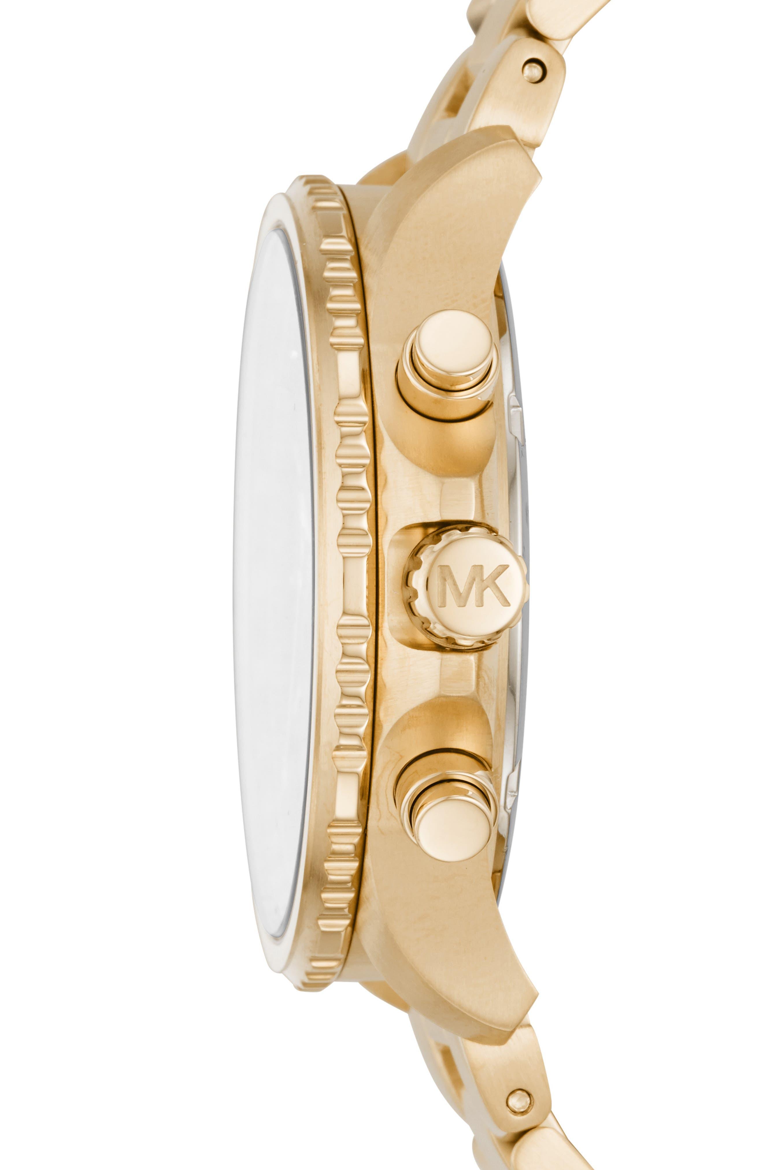 MICHAEL KORS, Theroux Bracelet Watch, 42mm, Alternate thumbnail 2, color, GOLD/ BLACK/ GOLD