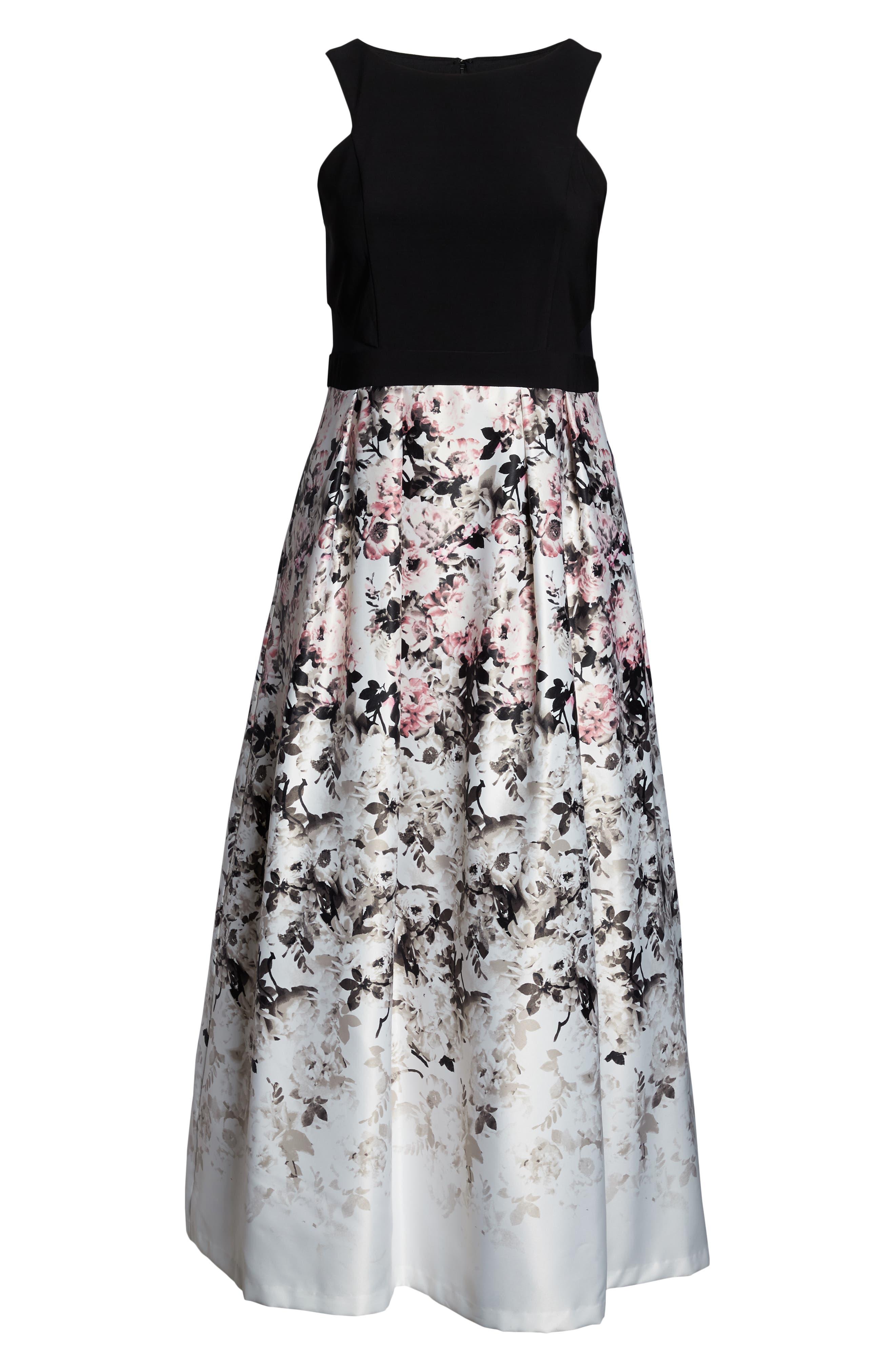 XSCAPE, Floral Print Evening Gown, Alternate thumbnail 3, color, BLACK/ PINK