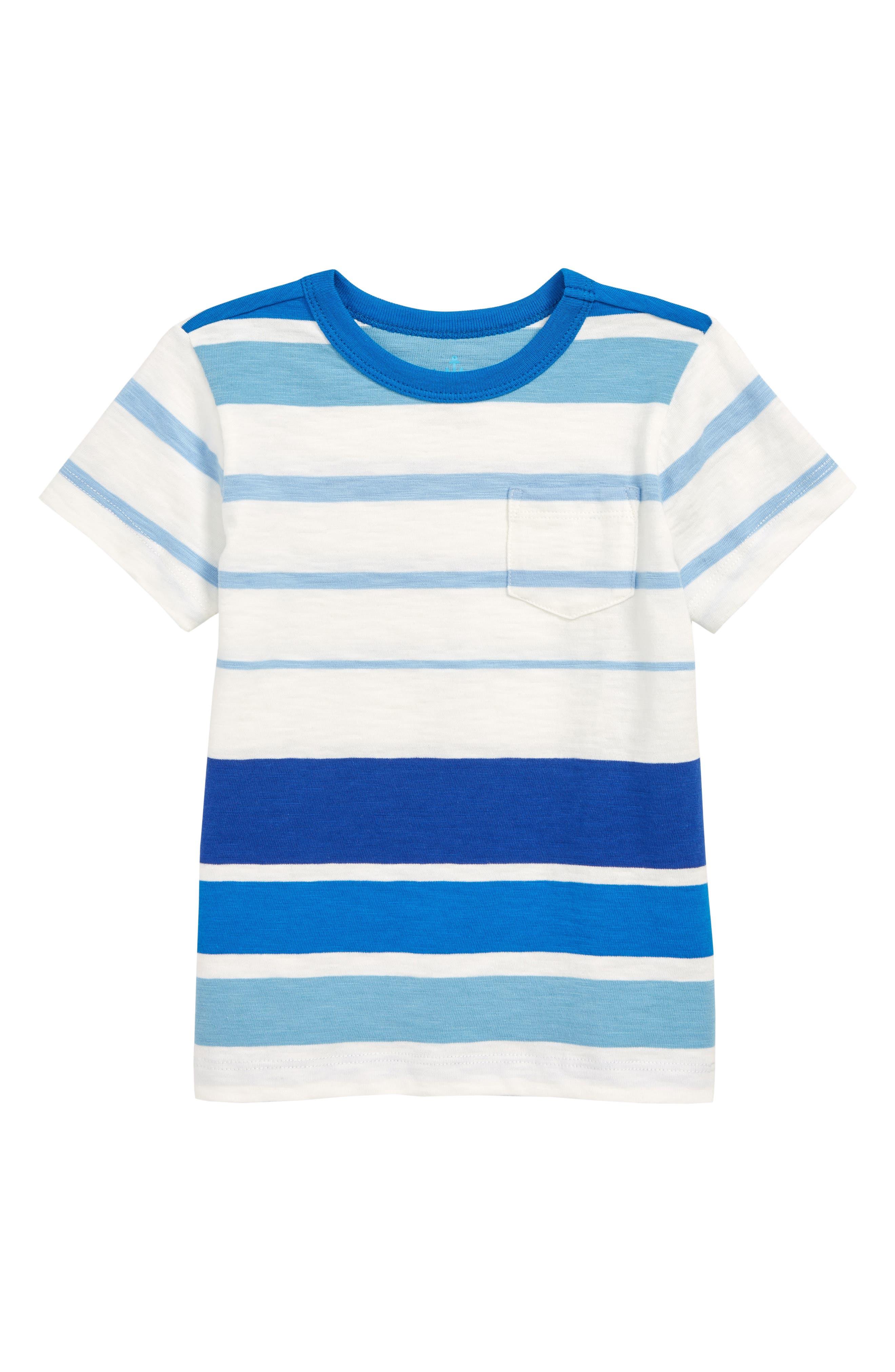 Boys Crewcuts By Jcrew Mixed Stripe Pocket TShirt Size 67  Blue