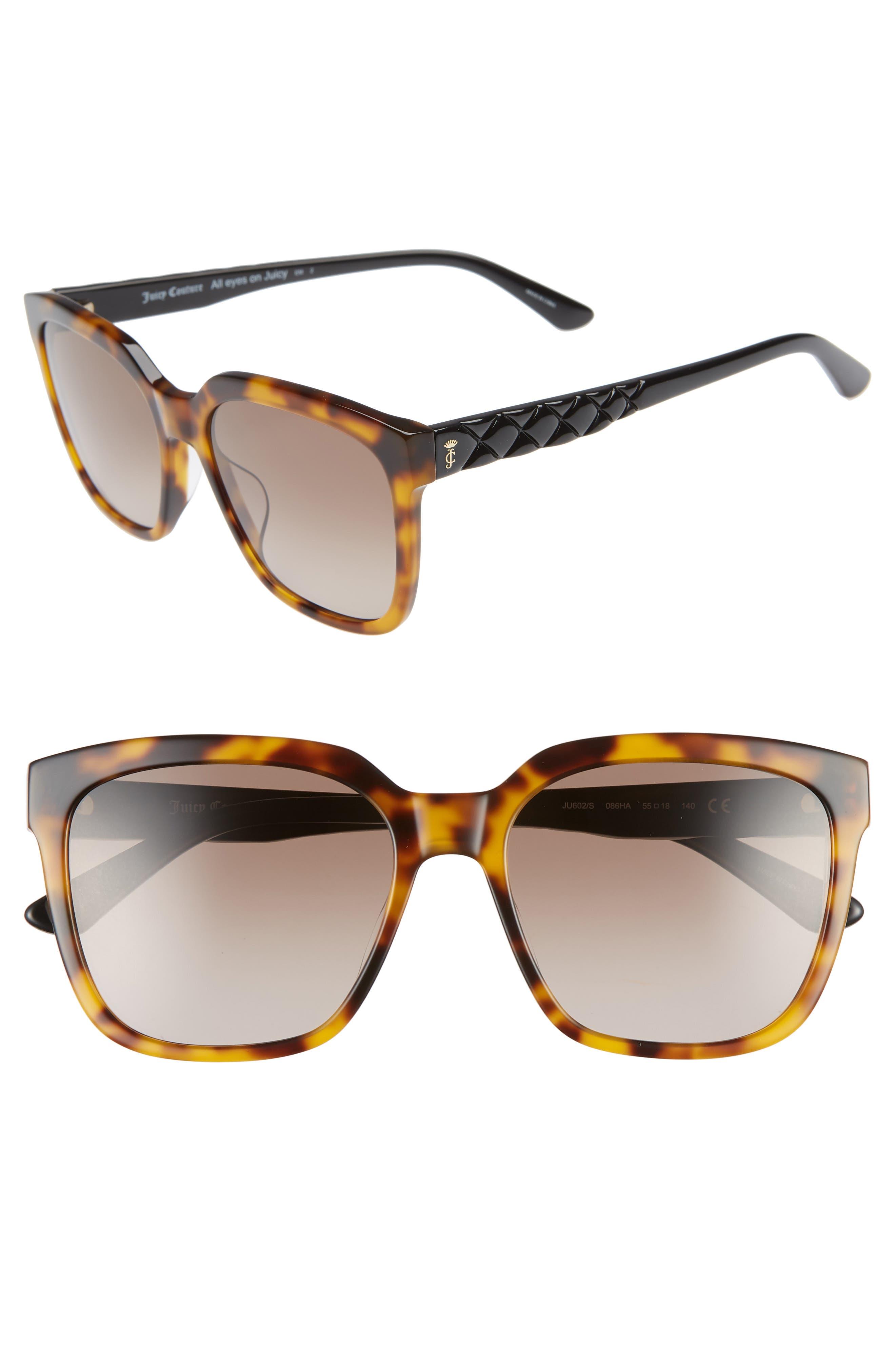 JUICY COUTURE, Core 55mm Square Sunglasses, Main thumbnail 1, color, BLACK