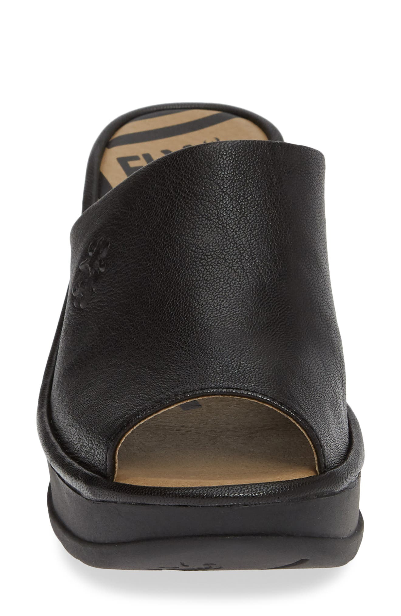 FLY LONDON, Jamb Wedge Slide Sandal, Alternate thumbnail 4, color, BLACK LEATHER
