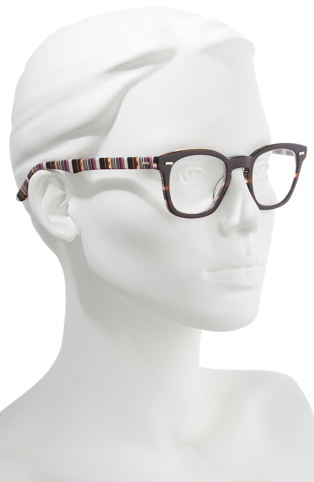 CORINNE MCCORMACK, 'Annie' 46mm Reading Glasses, Alternate thumbnail 2, color, BROWN/ STRIPE