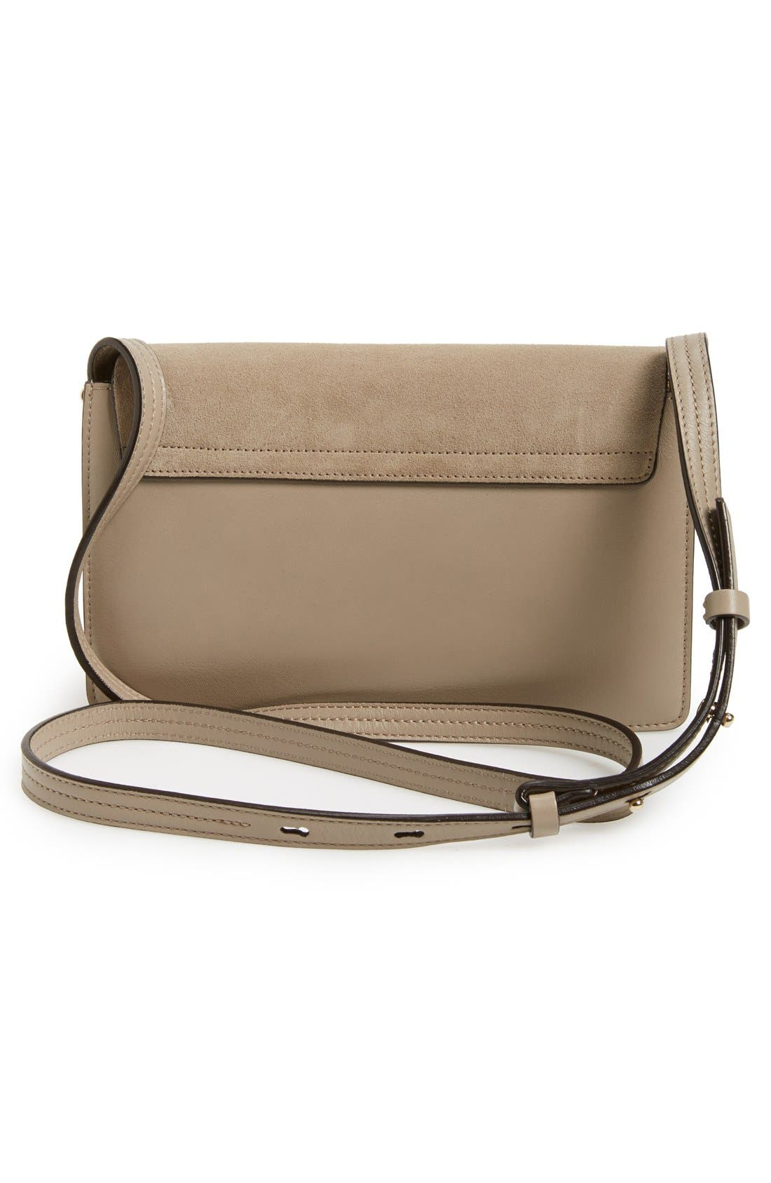 CHLOÉ, Small Faye Leather Shoulder Bag, Alternate thumbnail 3, color, MOTTY GREY