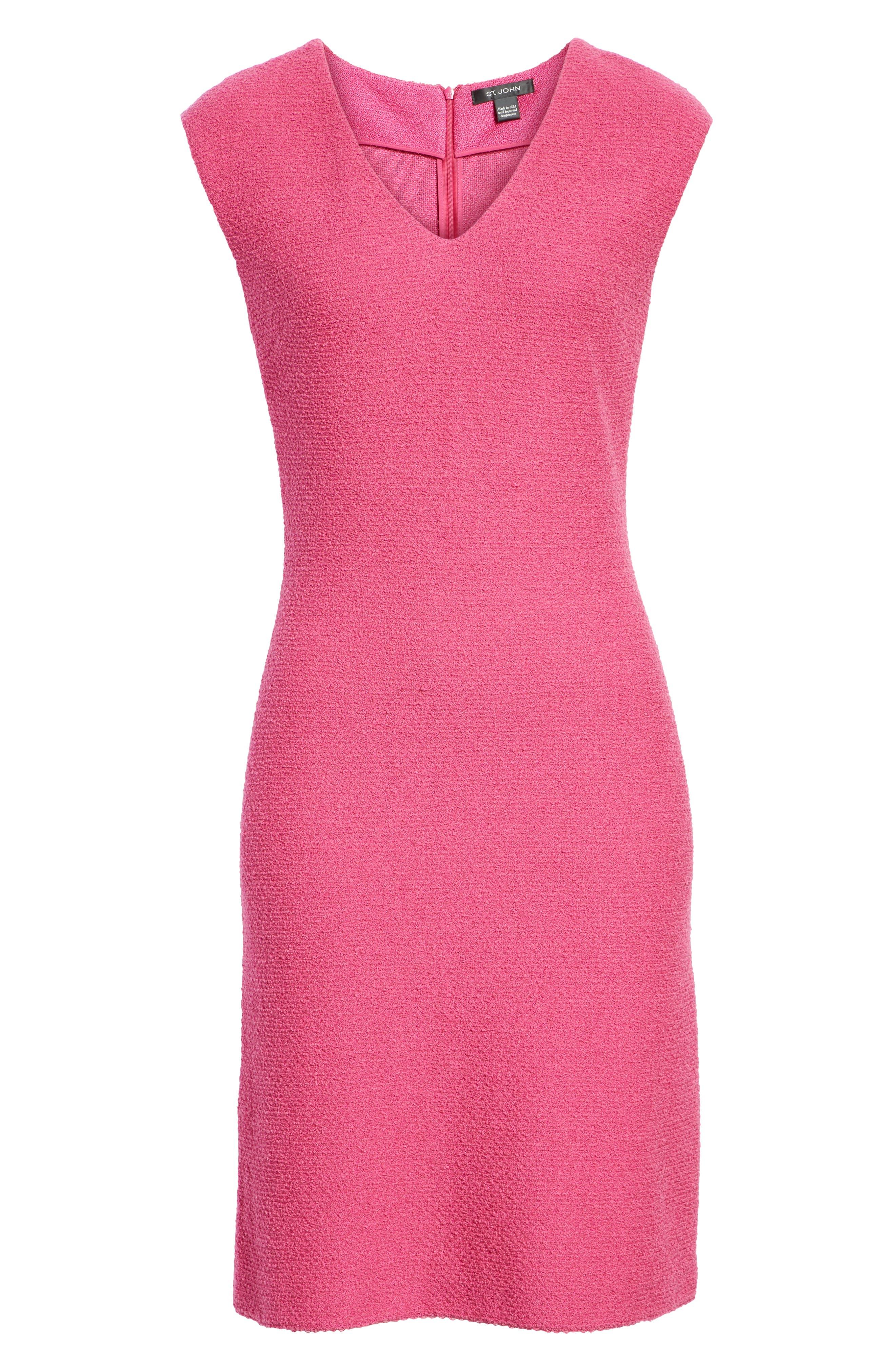 ST. JOHN COLLECTION, Refined Knit Dress, Alternate thumbnail 7, color, CAMELLIA