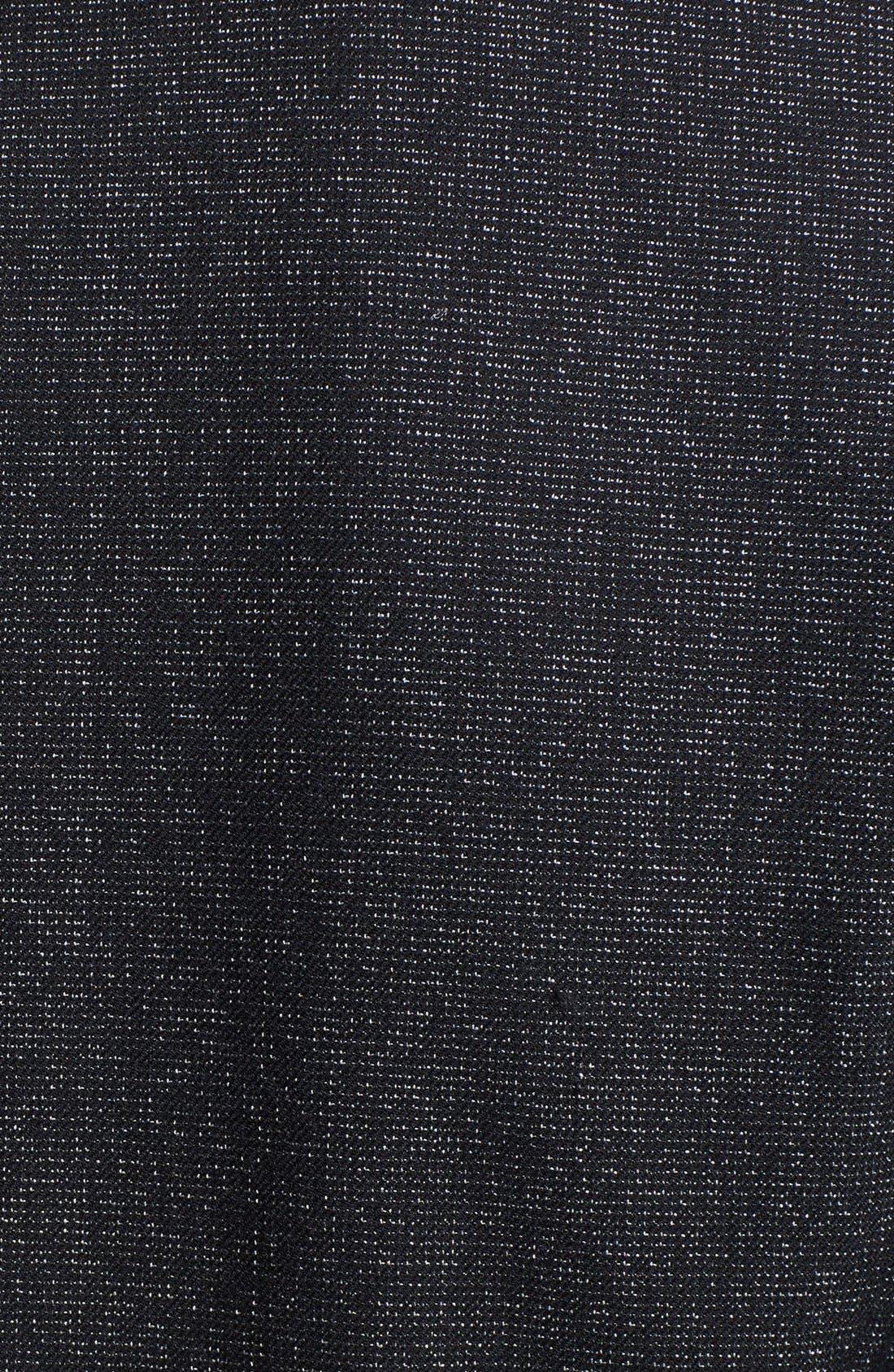 VINCE CAMUTO, Faux Leather Collar Peplum Blazer, Alternate thumbnail 5, color, 001
