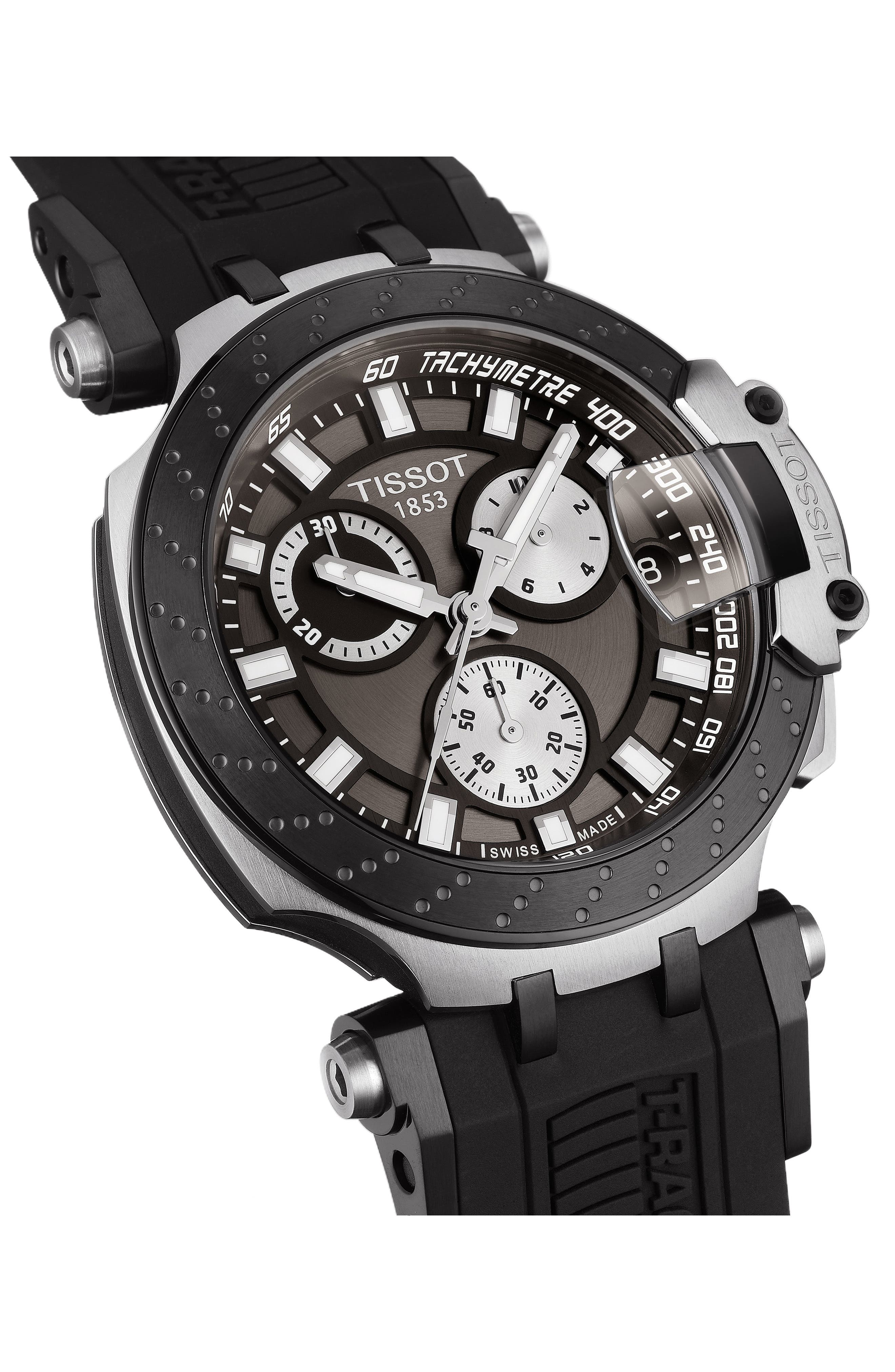 TISSOT, T-Race Chronograph Silicone Strap Watch, 48mm, Alternate thumbnail 2, color, BLACK/ ANTHRACITE/ SILVER