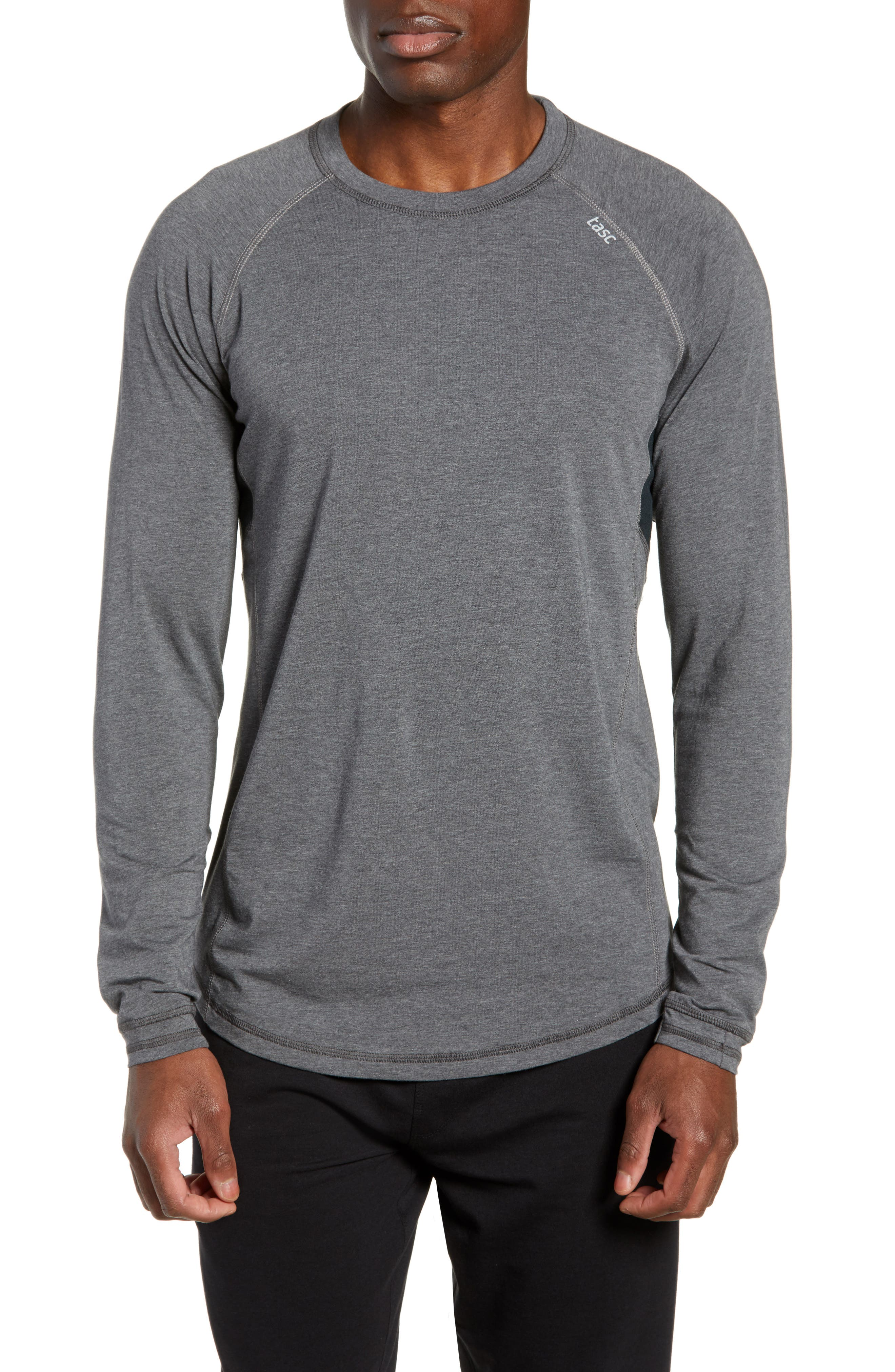 TASC PERFORMANCE, Charge II Long Sleeve Shirt, Main thumbnail 1, color, BLACK HEATHER