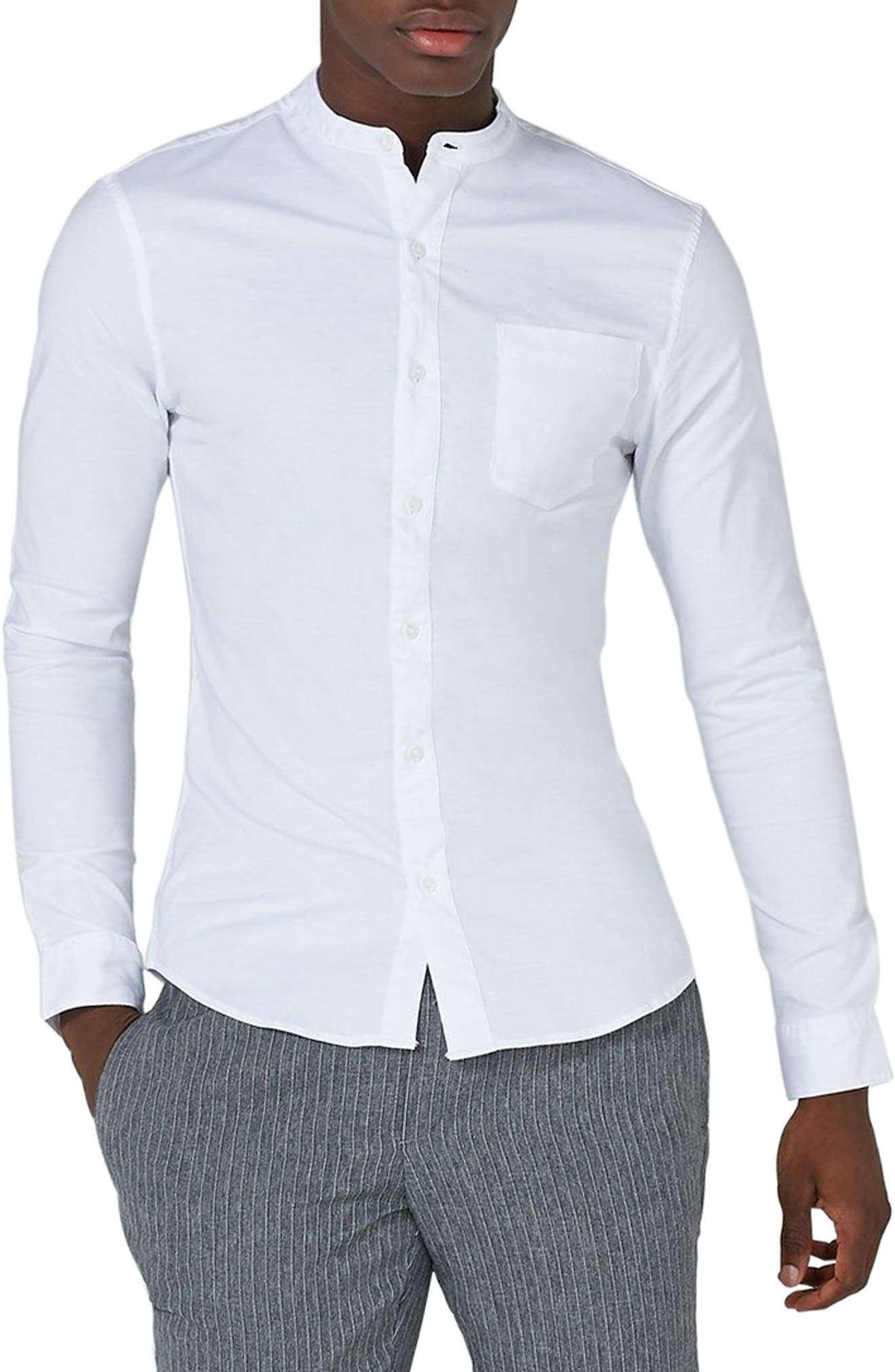 TOPMAN, Muscle Fit Band Collar Shirt, Main thumbnail 1, color, WHITE