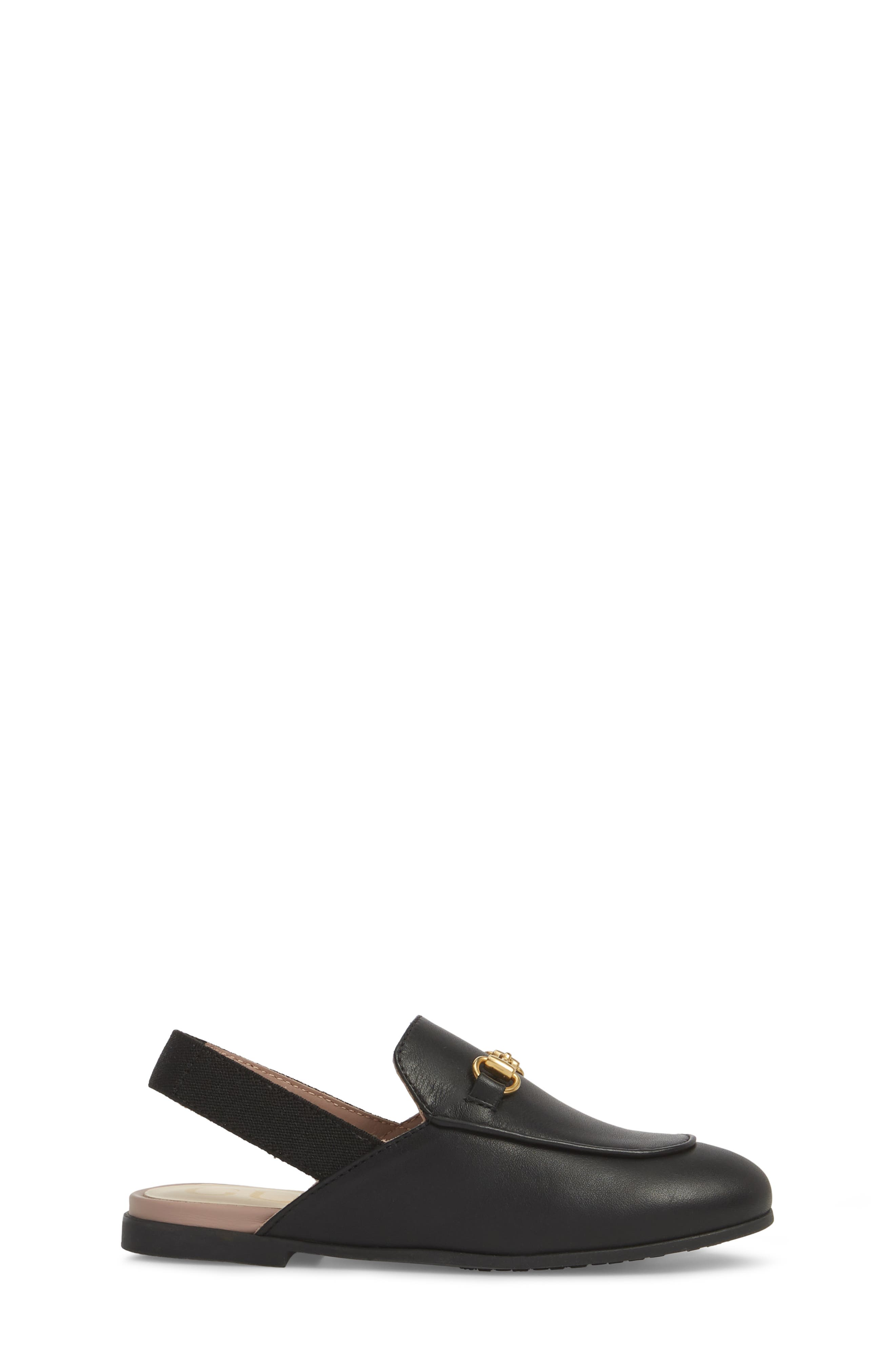 GUCCI, Princetown Loafer Mule, Alternate thumbnail 3, color, BLACK/ BLACK