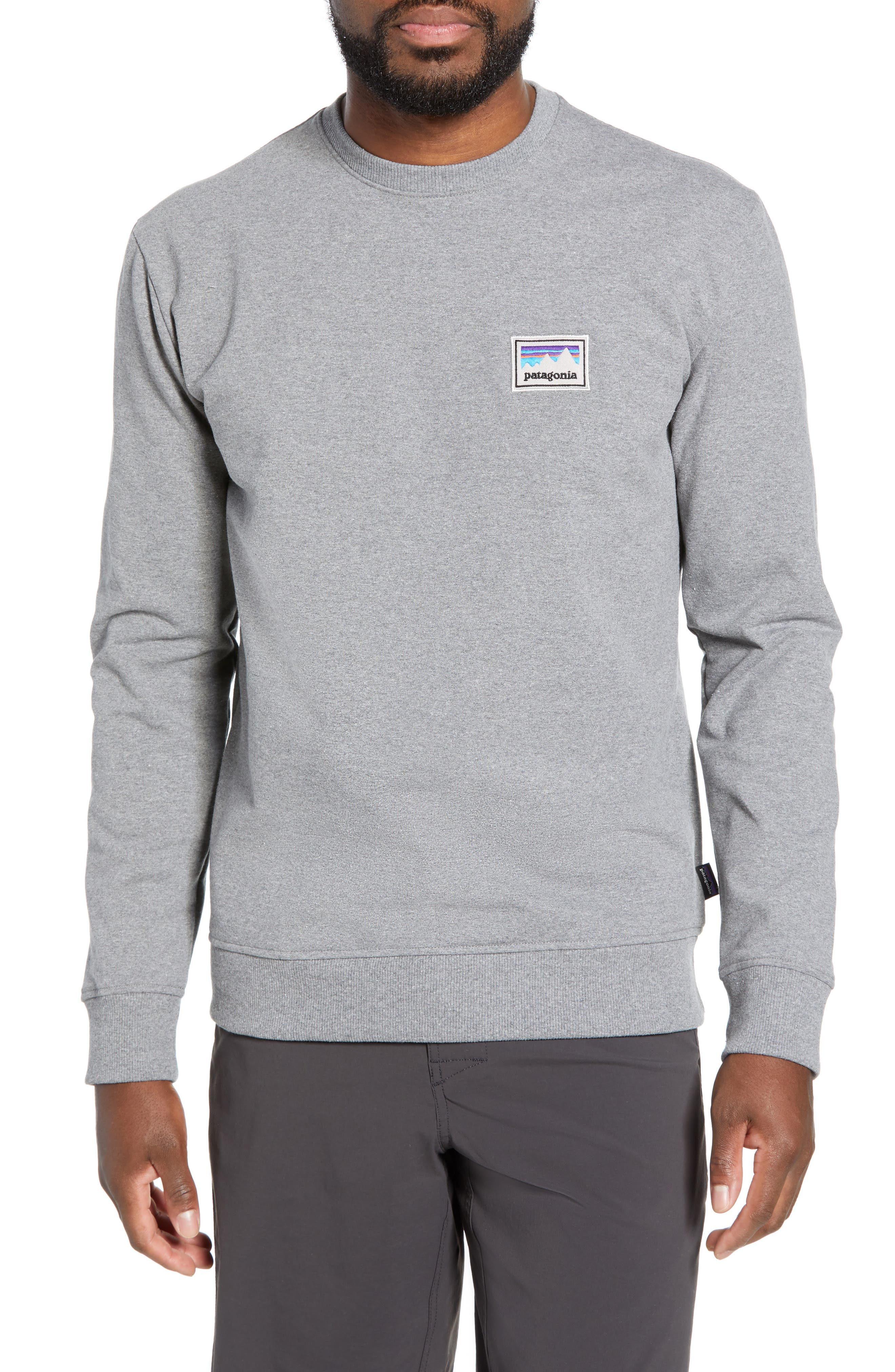 PATAGONIA Shop Sticker Patch Uprisal Crew Sweatshirt, Main, color, GRAVEL HEATHER