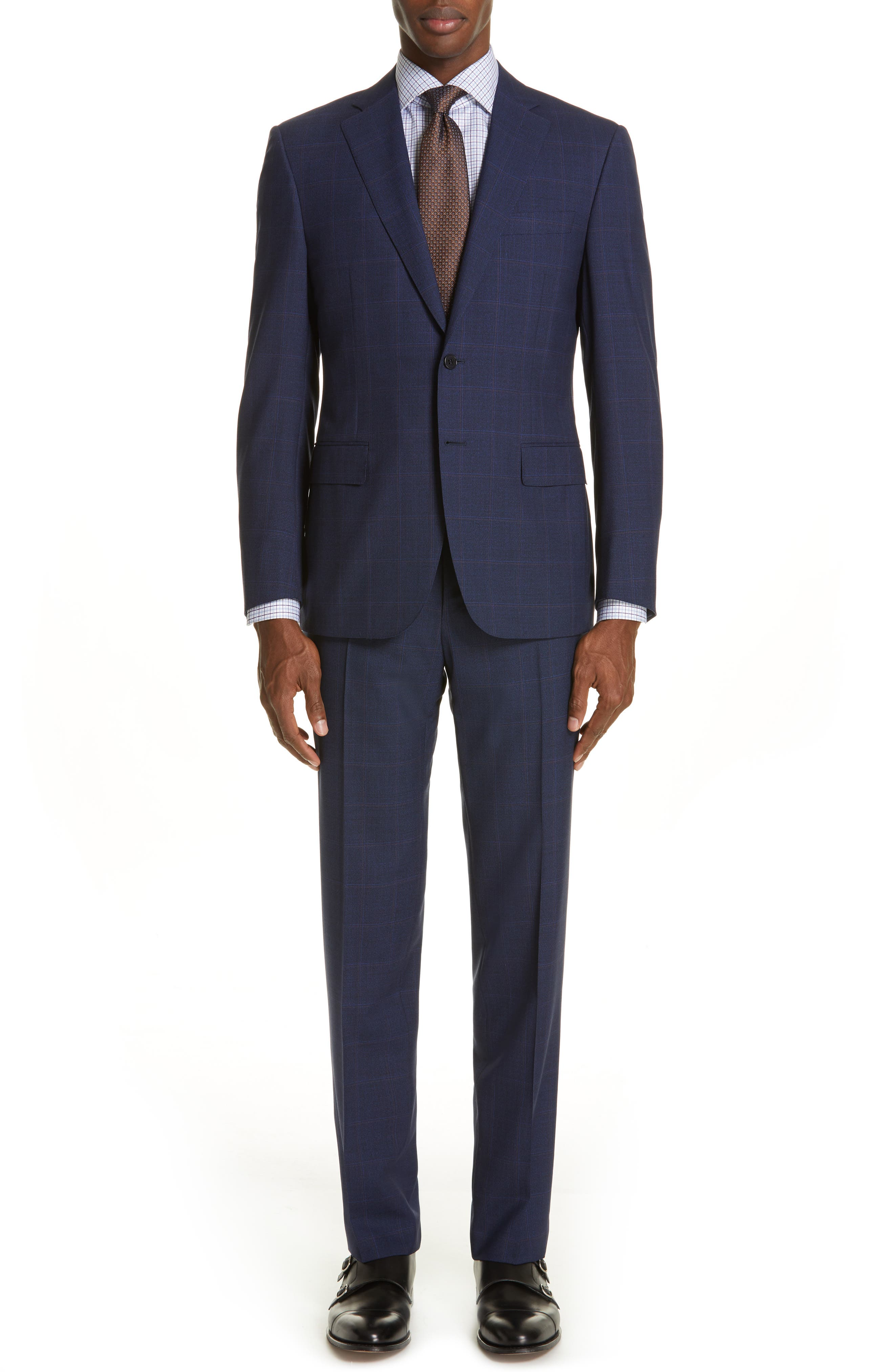 CANALI, Siena Soft Classic Fit Plaid Wool Suit, Main thumbnail 1, color, NAVY