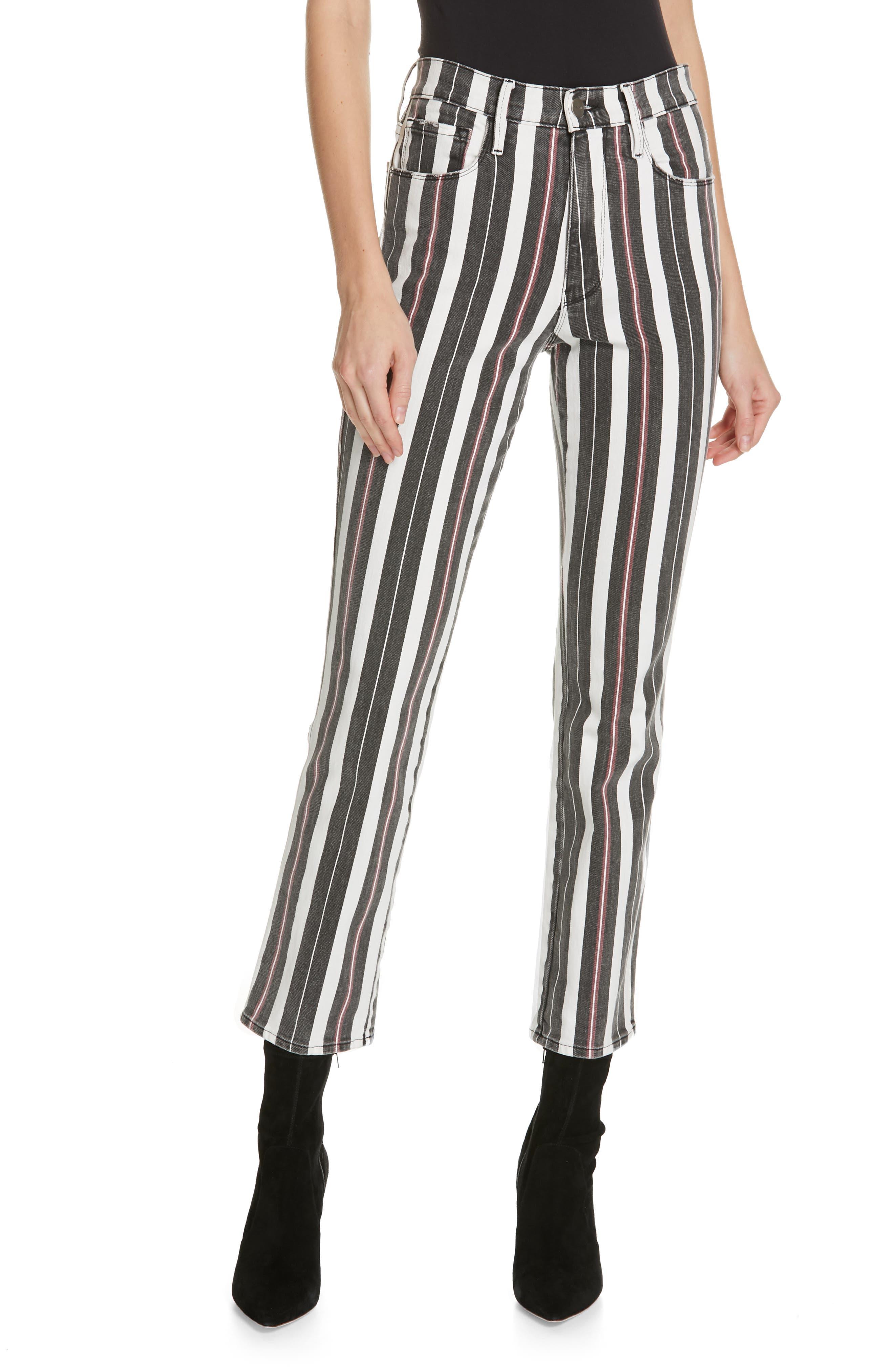 FRAME, Le Sylvie Band Stripe Straight Leg Jeans, Main thumbnail 1, color, BAND STRIPE