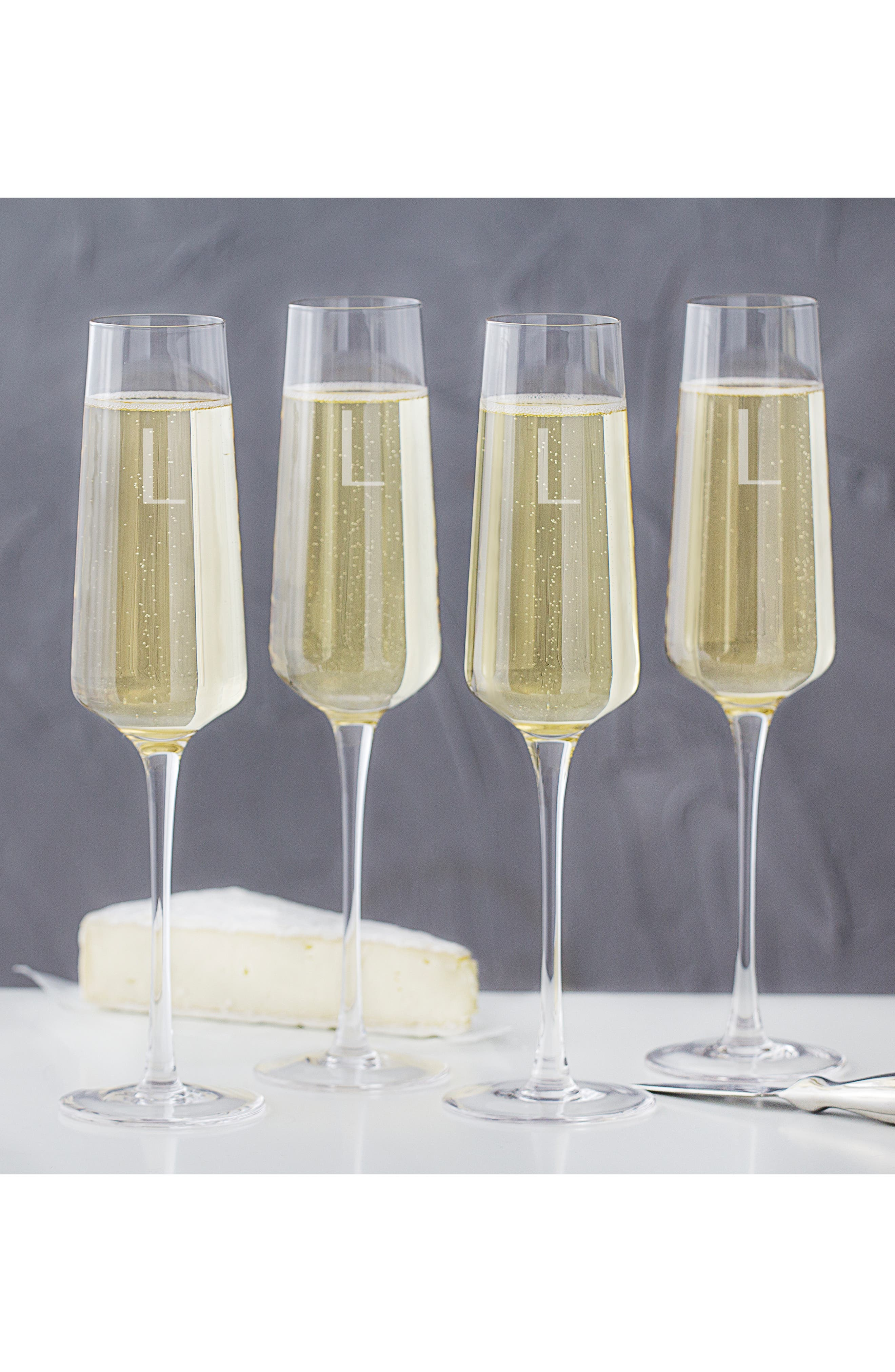 CATHY'S CONCEPTS, Estate Collection Set of 4 Monogram Champagne Flutes, Alternate thumbnail 3, color, A