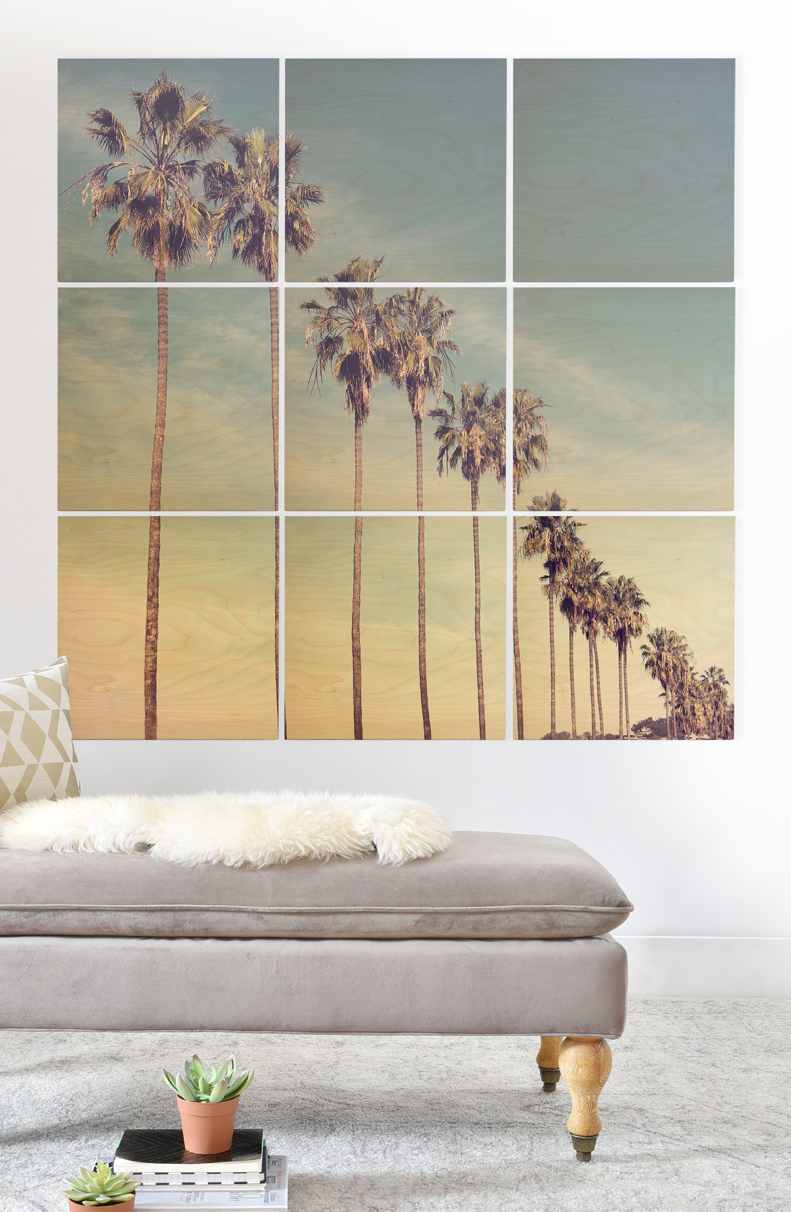 DENY DESIGNS, California Summer 9-Piece Wood Wall Mural, Alternate thumbnail 2, color, BLUE
