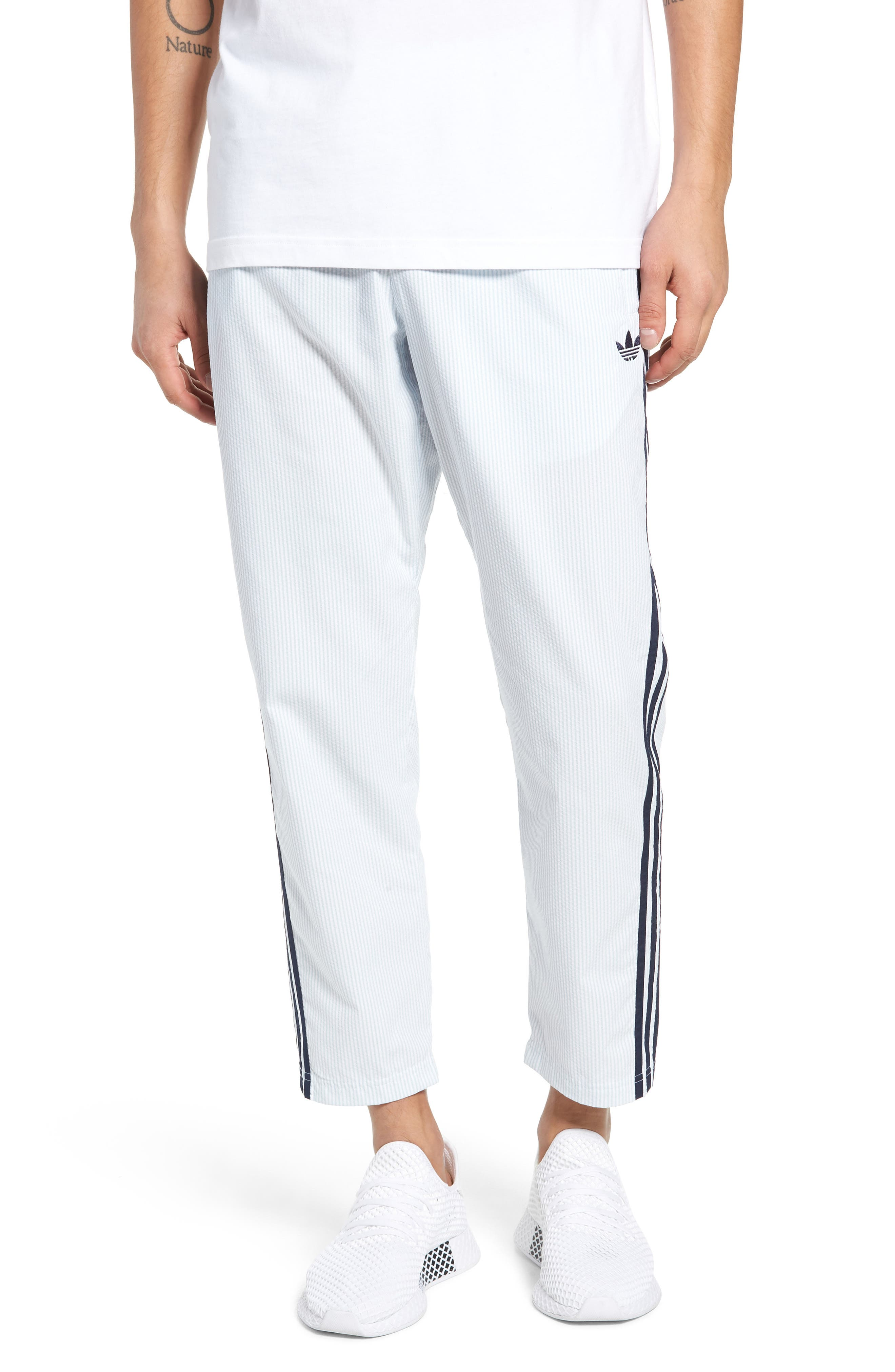 ADIDAS ORIGINALS, Seersucker Track Pants, Main thumbnail 1, color, ASH GREY/ WHITE