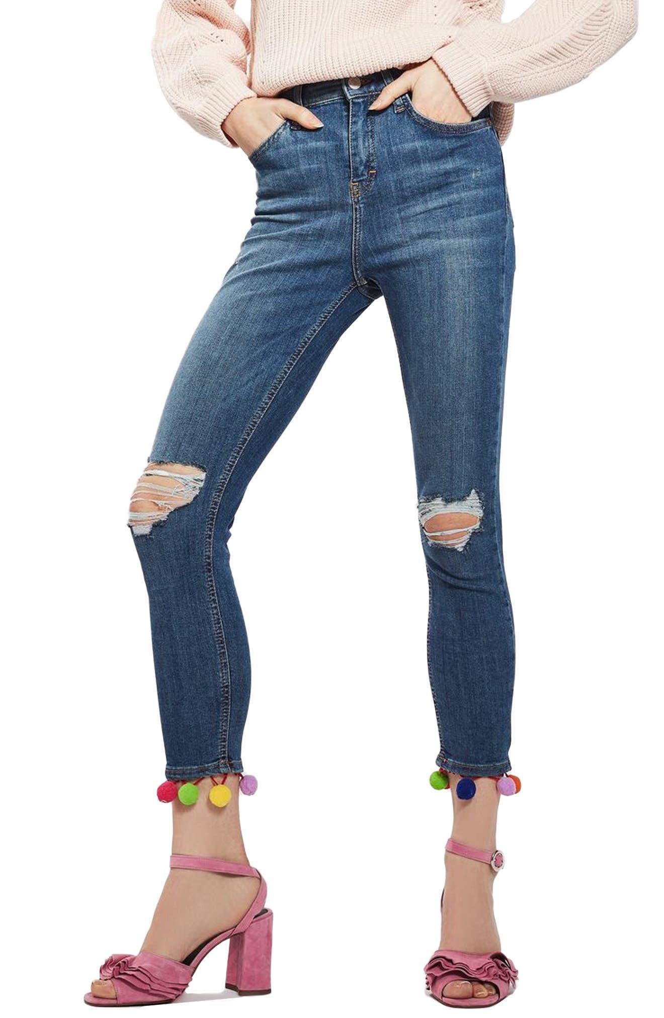 TOPSHOP, Jamie Pompom Skinny Jeans, Main thumbnail 1, color, 400