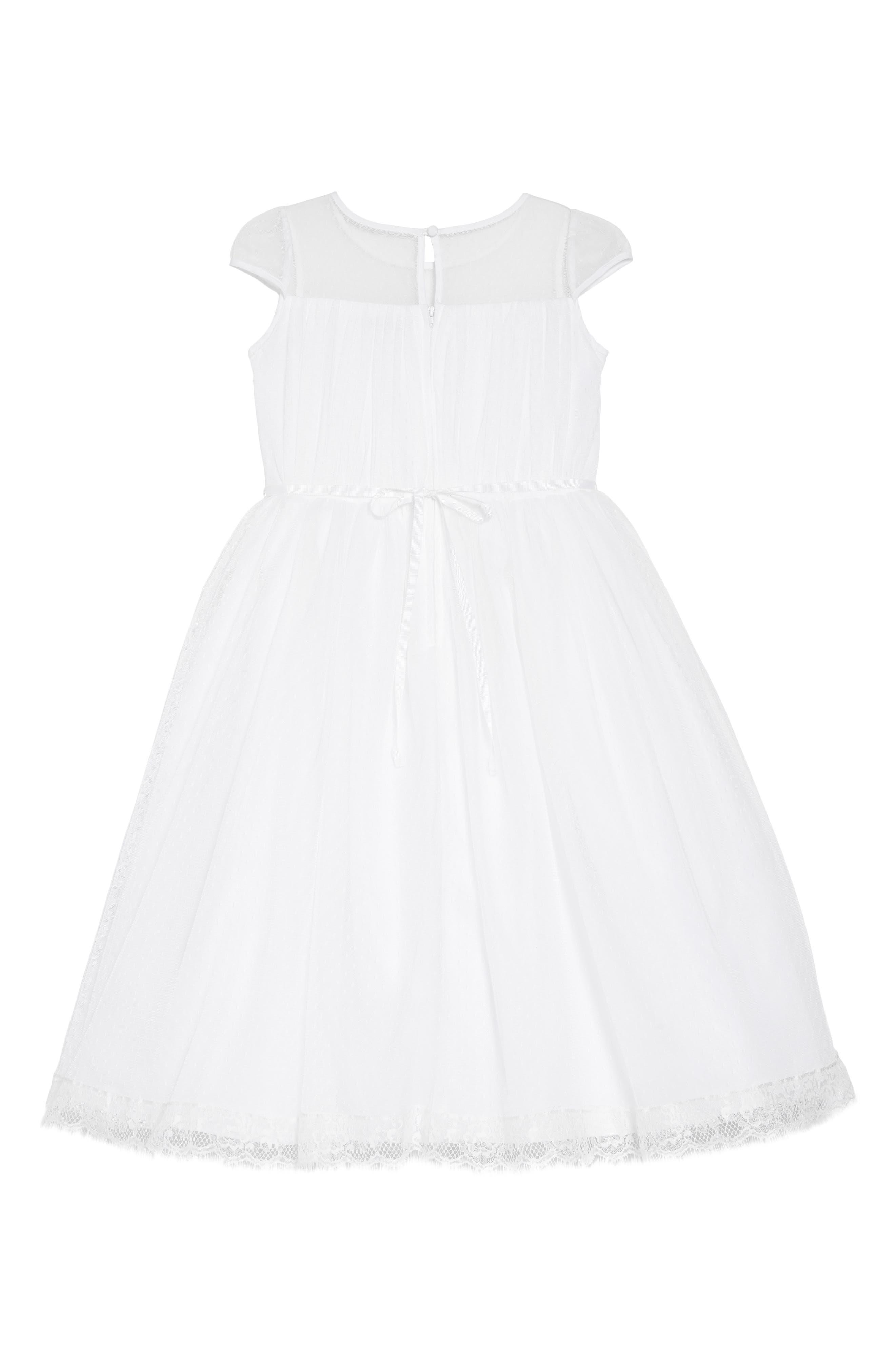 US ANGELS, Illusion Neckline Dress, Alternate thumbnail 3, color, WHITE