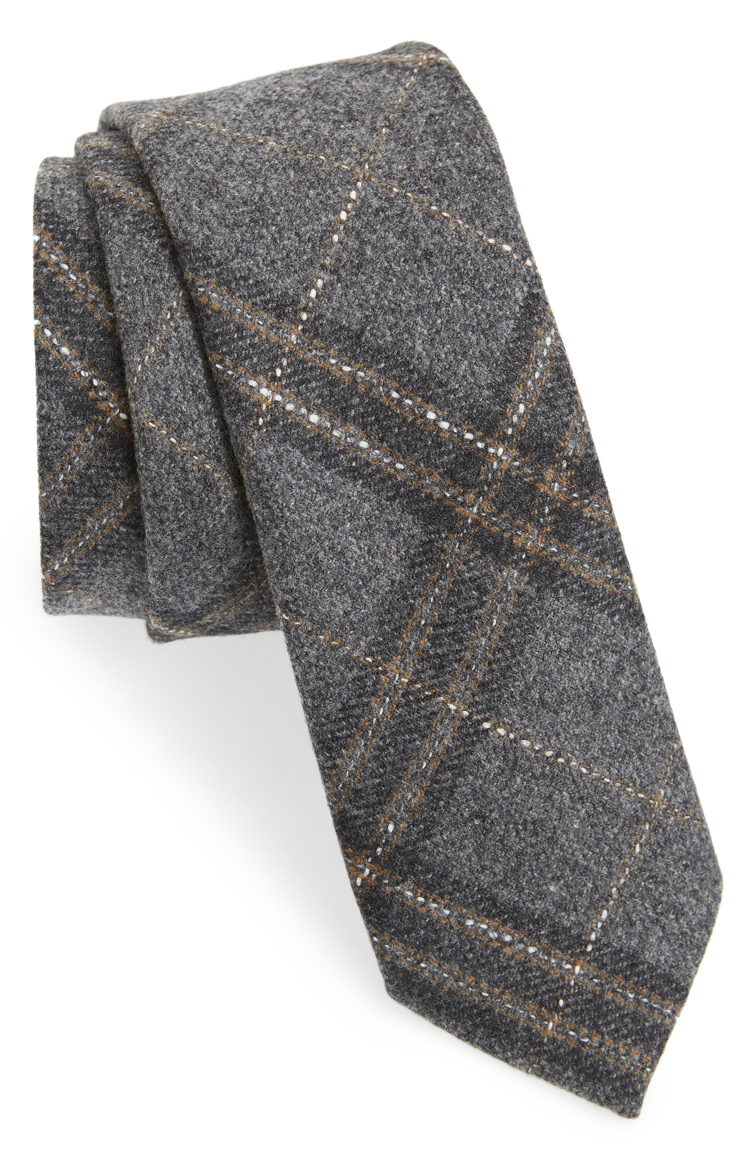 THE TIE BAR, Sotto Plaid Wool Blend Tie, Main thumbnail 1, color, GREY