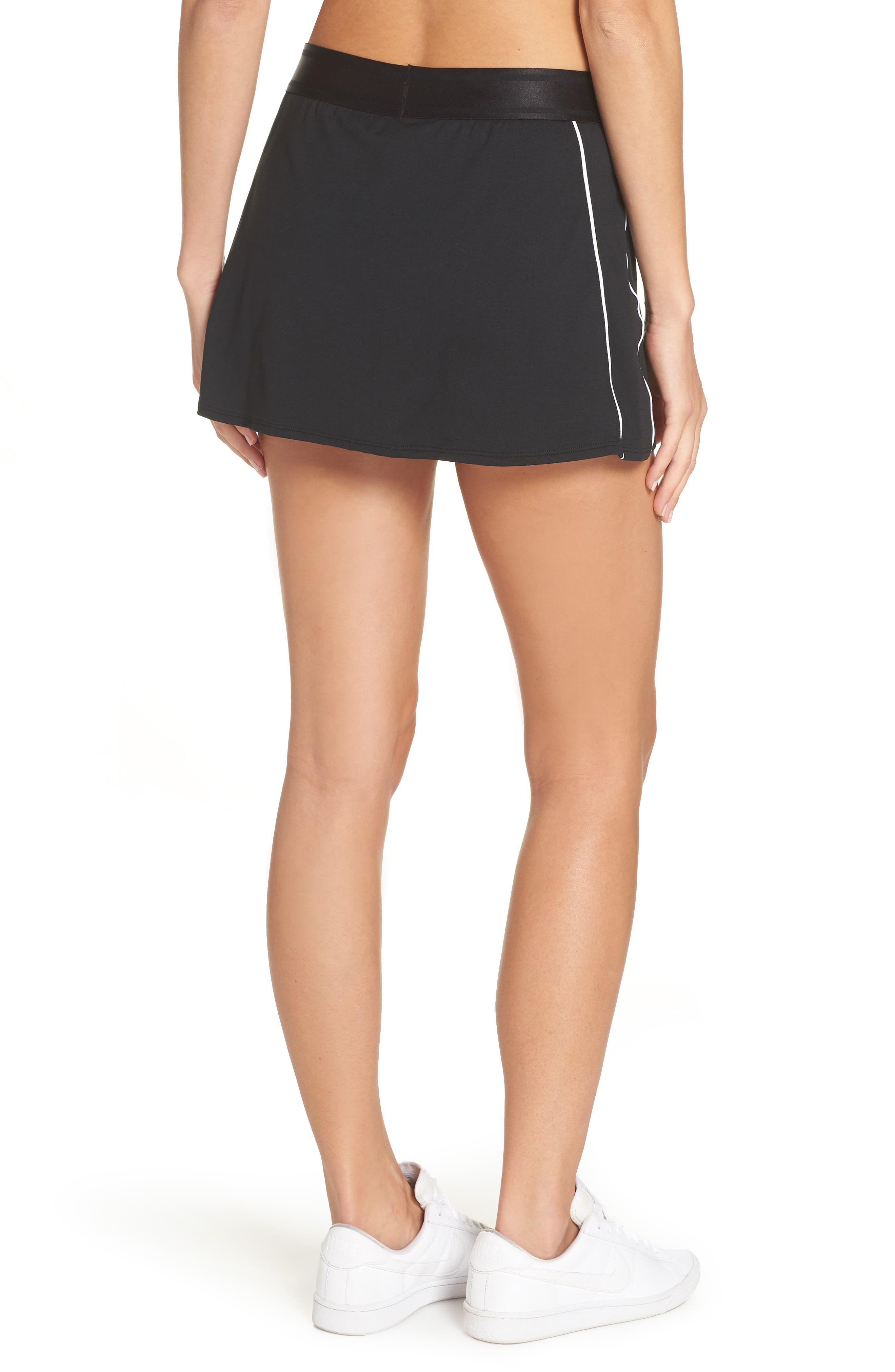 NIKE, Court Dry-FIT Tennis Skirt, Alternate thumbnail 2, color, BLACK/ WHITE/ WHITE/ BLACK