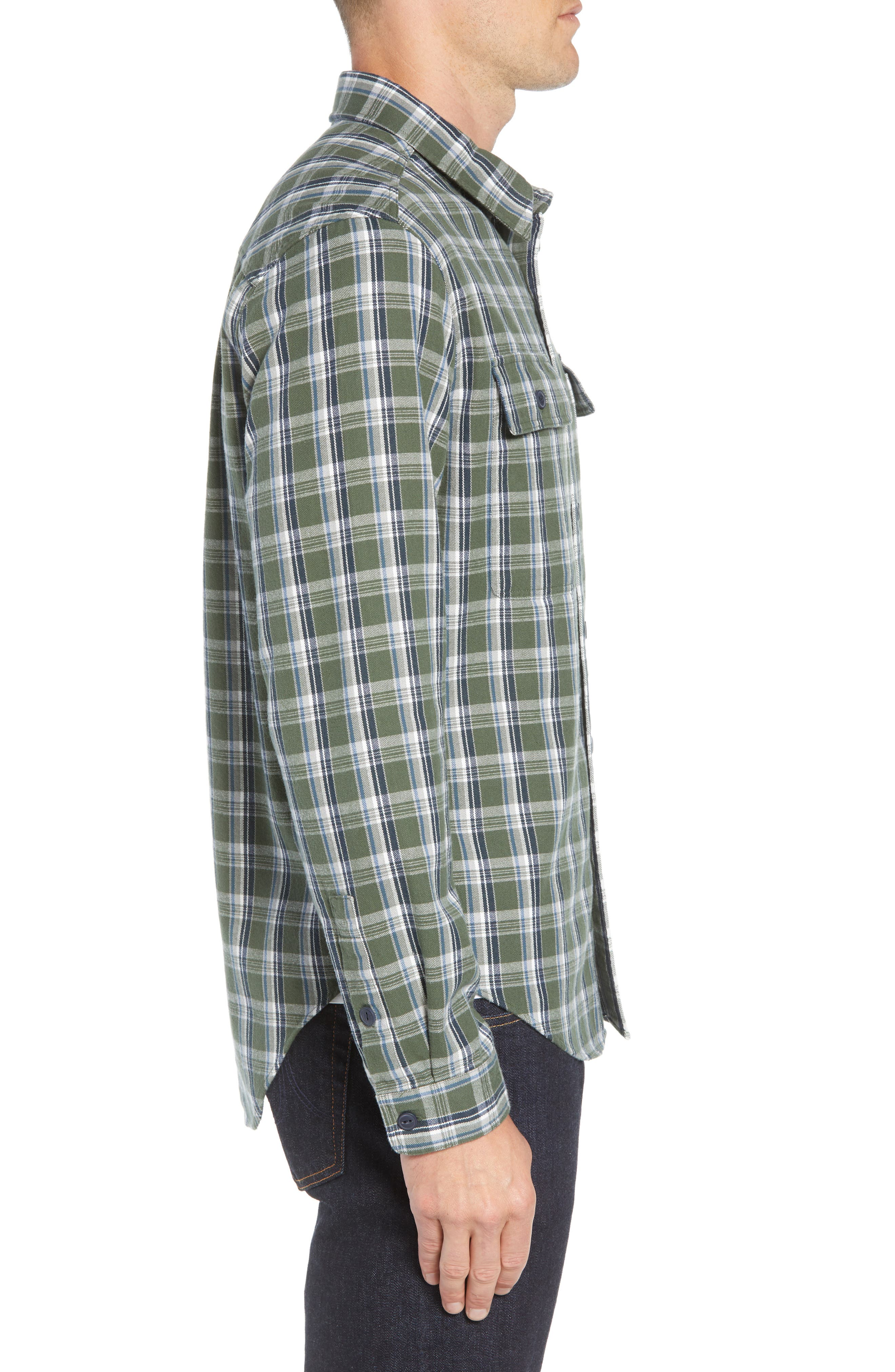 UGG<SUP>®</SUP>, Anders Flannel Sport Shirt, Alternate thumbnail 4, color, ARMY GREEN PLAID