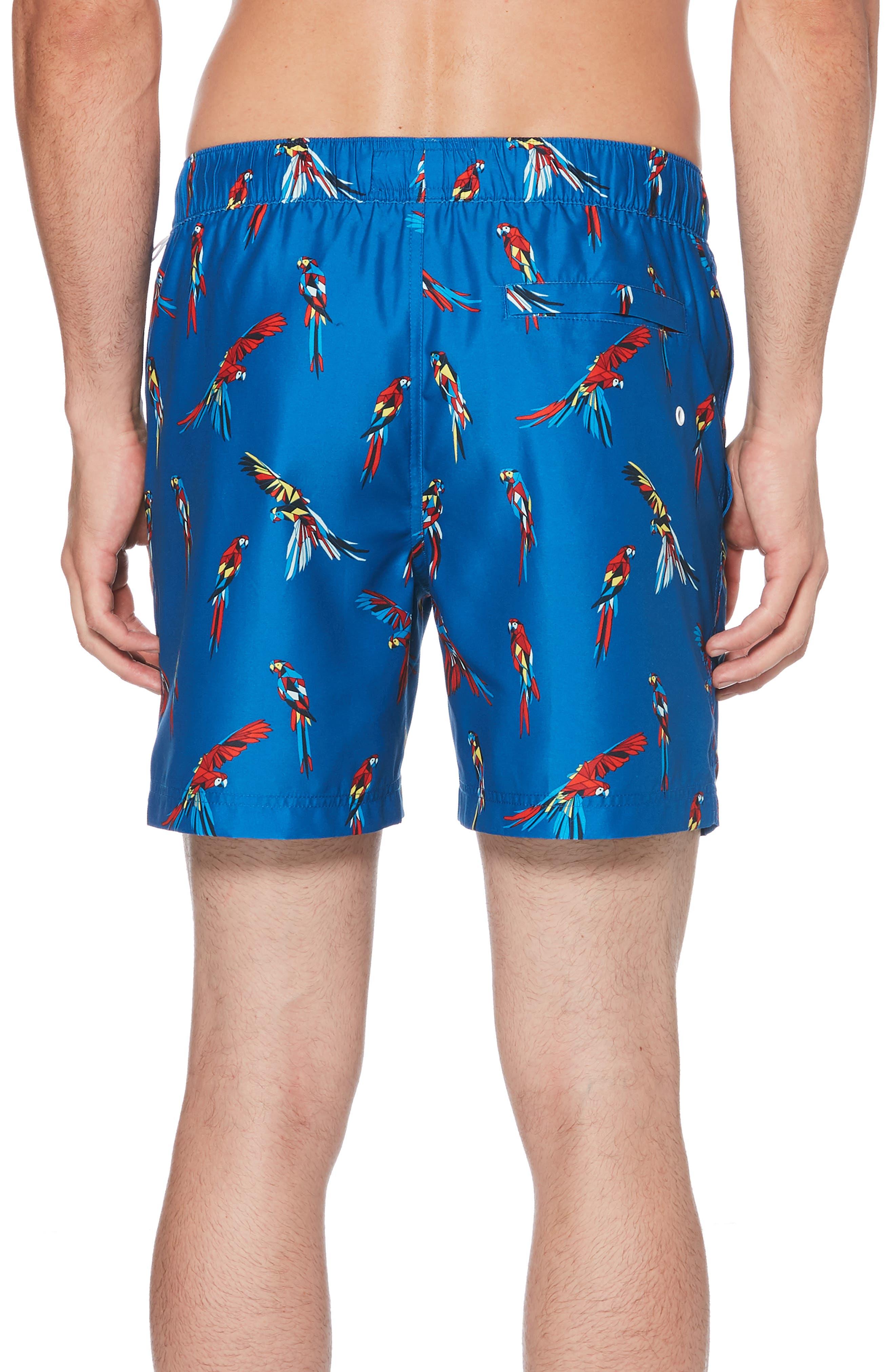 ORIGINAL PENGUIN, Parrot Swim Trunks, Alternate thumbnail 2, color, CLASSIC BLUE