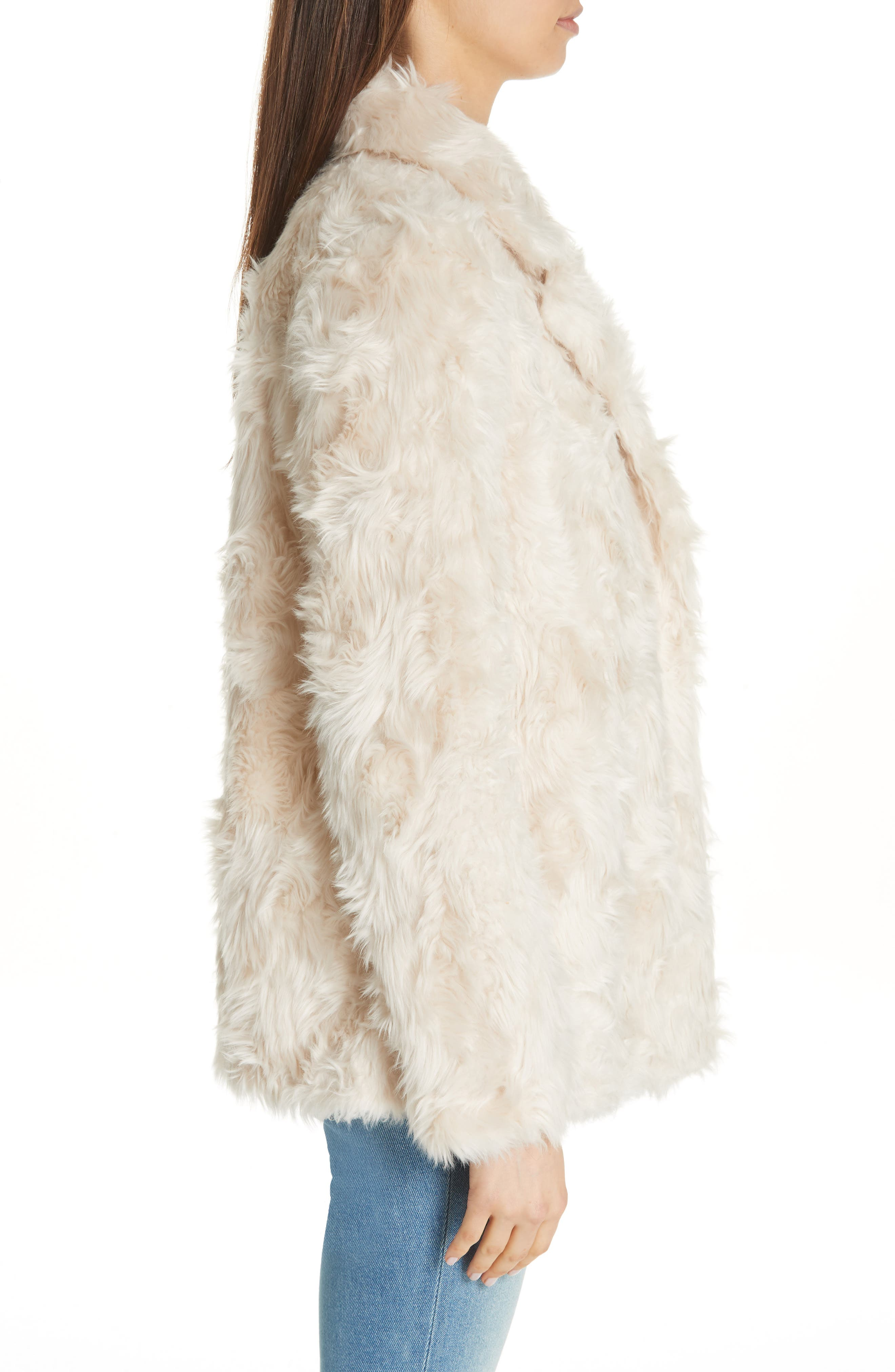 THEORY, Clairene Faux Fur Jacket, Alternate thumbnail 3, color, 907