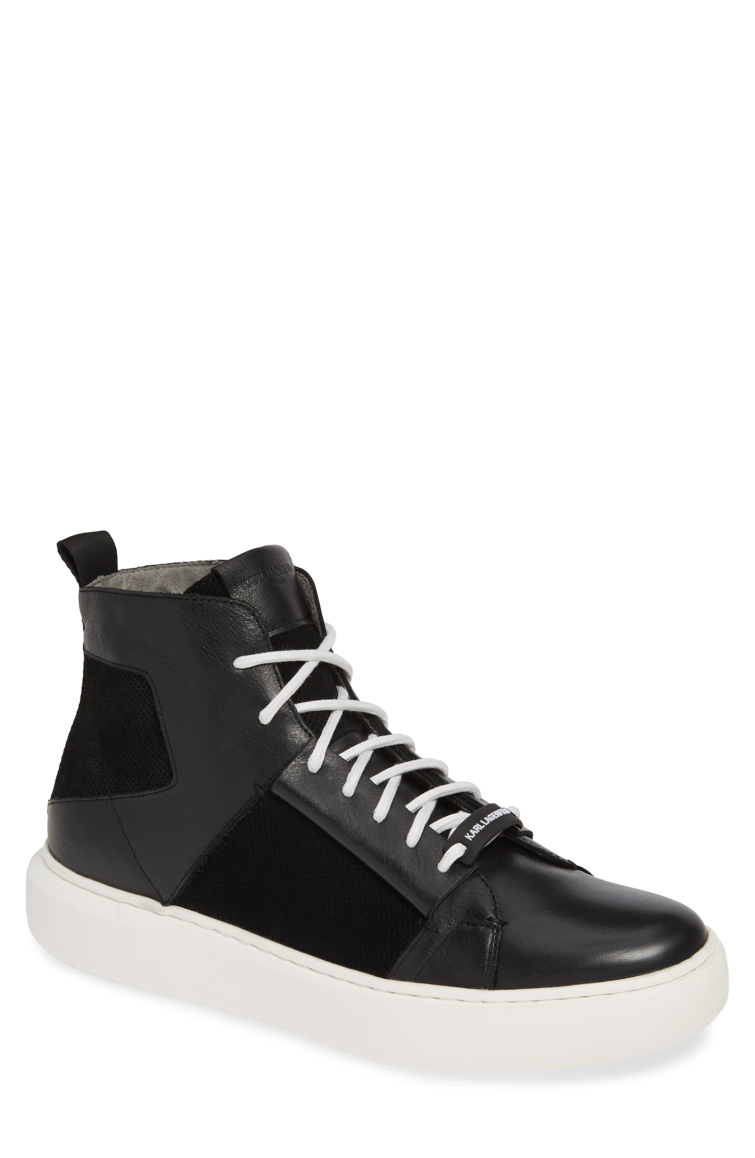 KARL LAGERFELD PARIS, High Top Sneaker, Main thumbnail 1, color, BLACK LEATHER