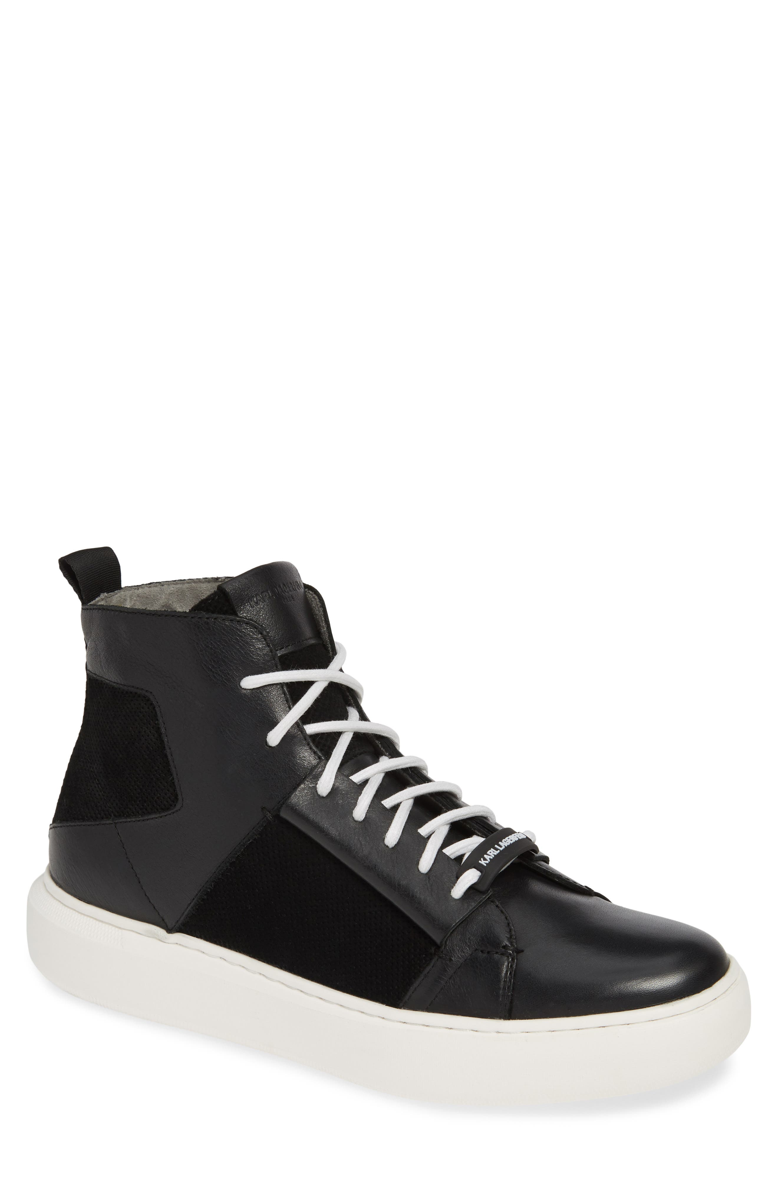 KARL LAGERFELD PARIS High Top Sneaker, Main, color, BLACK LEATHER