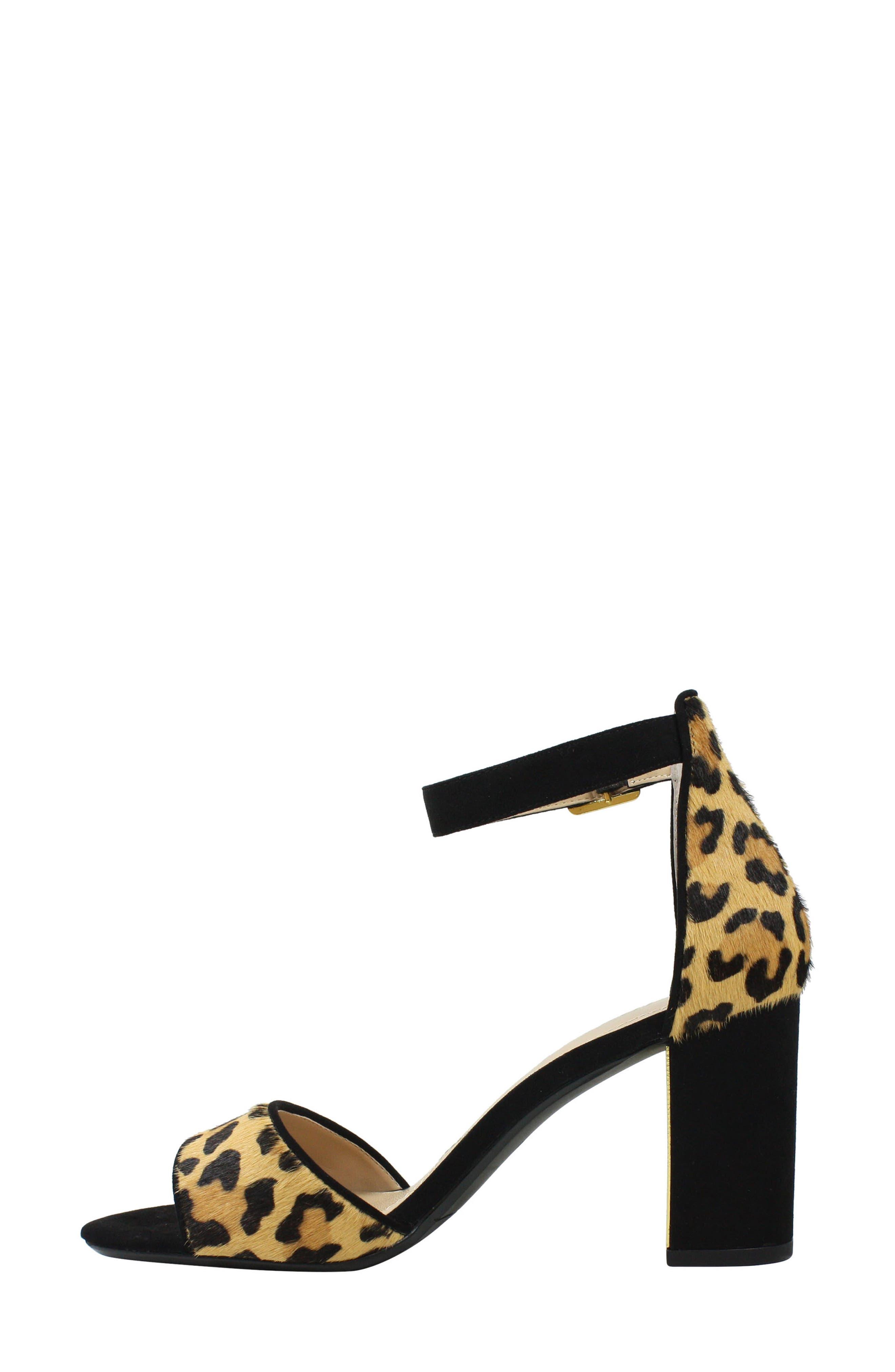 J. RENEÉ, Flaviana Ankle Strap Sandal, Alternate thumbnail 7, color, BLACK/ BROWN CALF HAIR