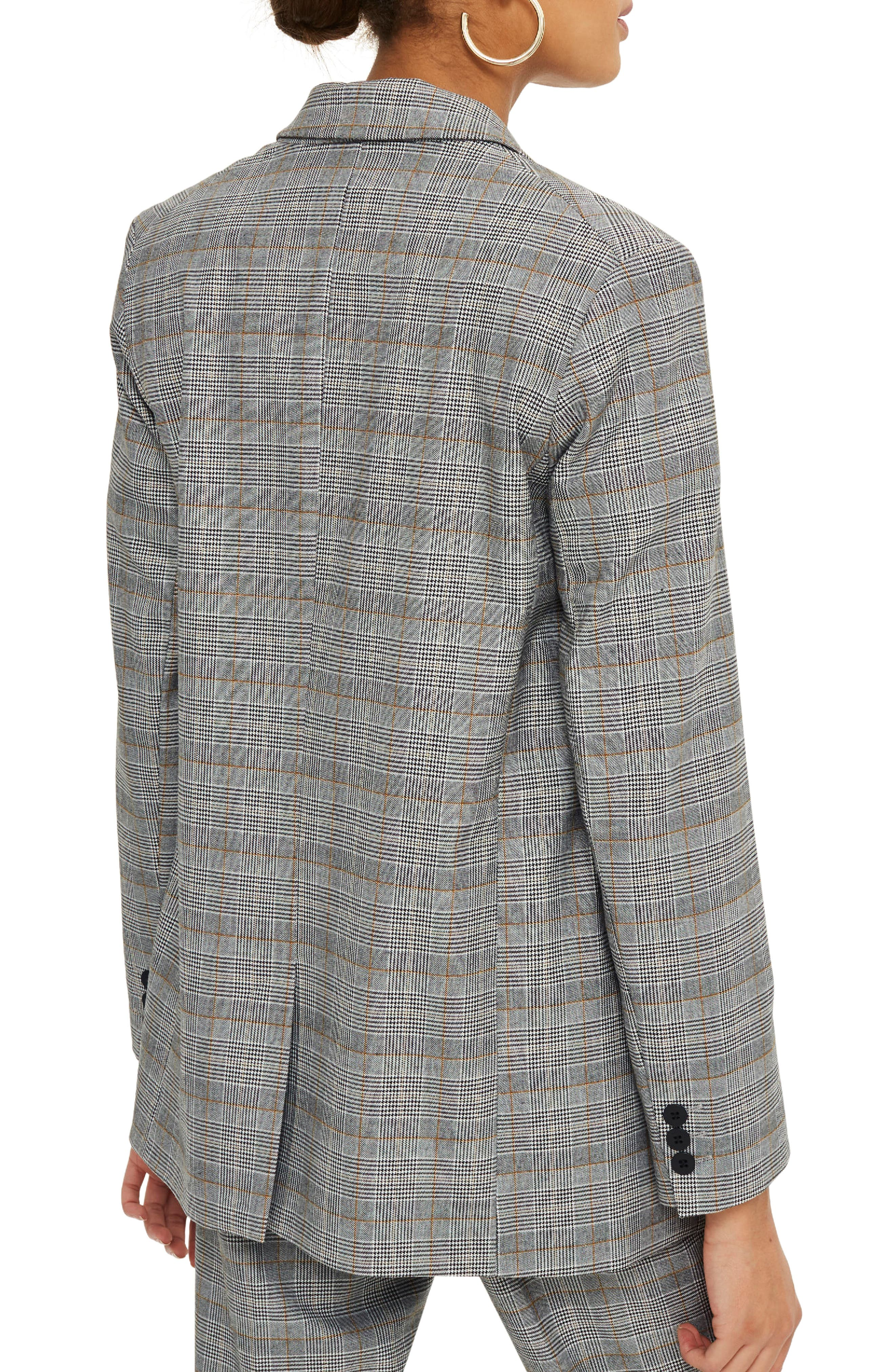 TOPSHOP, Double Breasted Check Jacket, Alternate thumbnail 2, color, 020