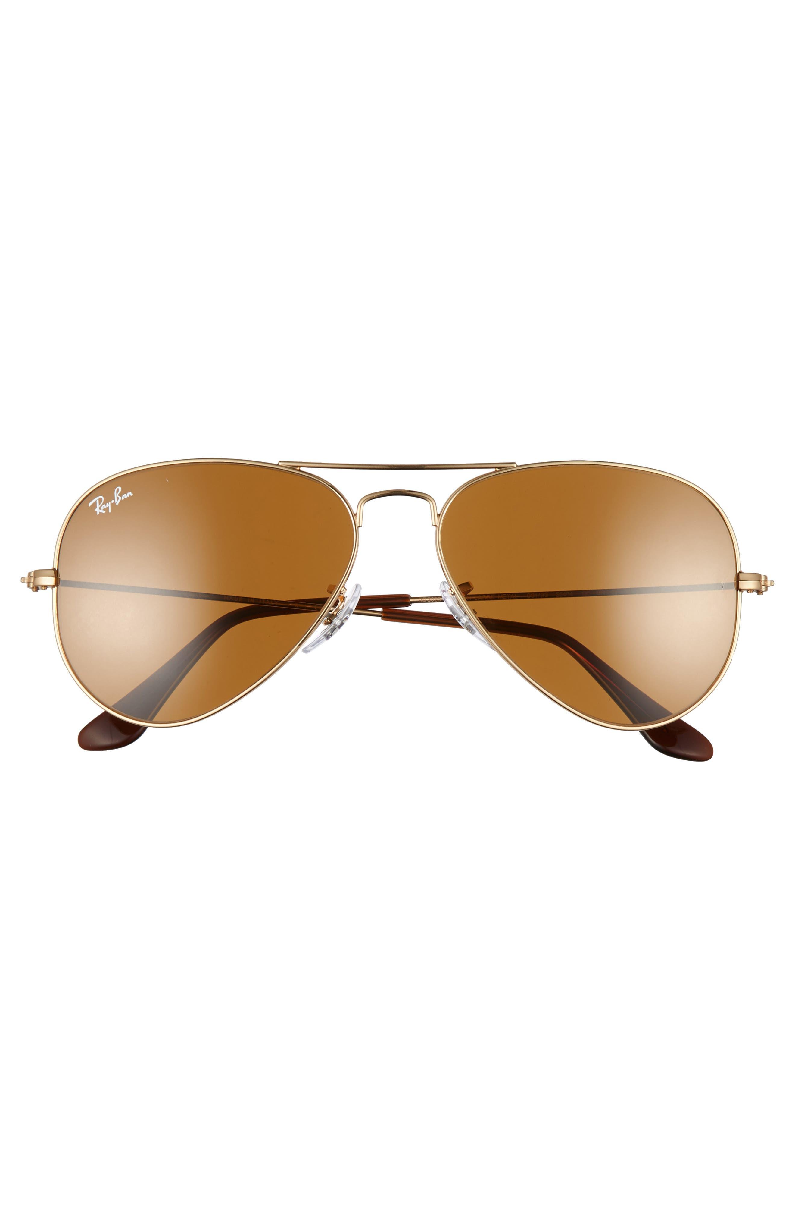 RAY-BAN, Small Original 55mm Aviator Sunglasses, Alternate thumbnail 3, color, GOLD/ BROWN SOLID