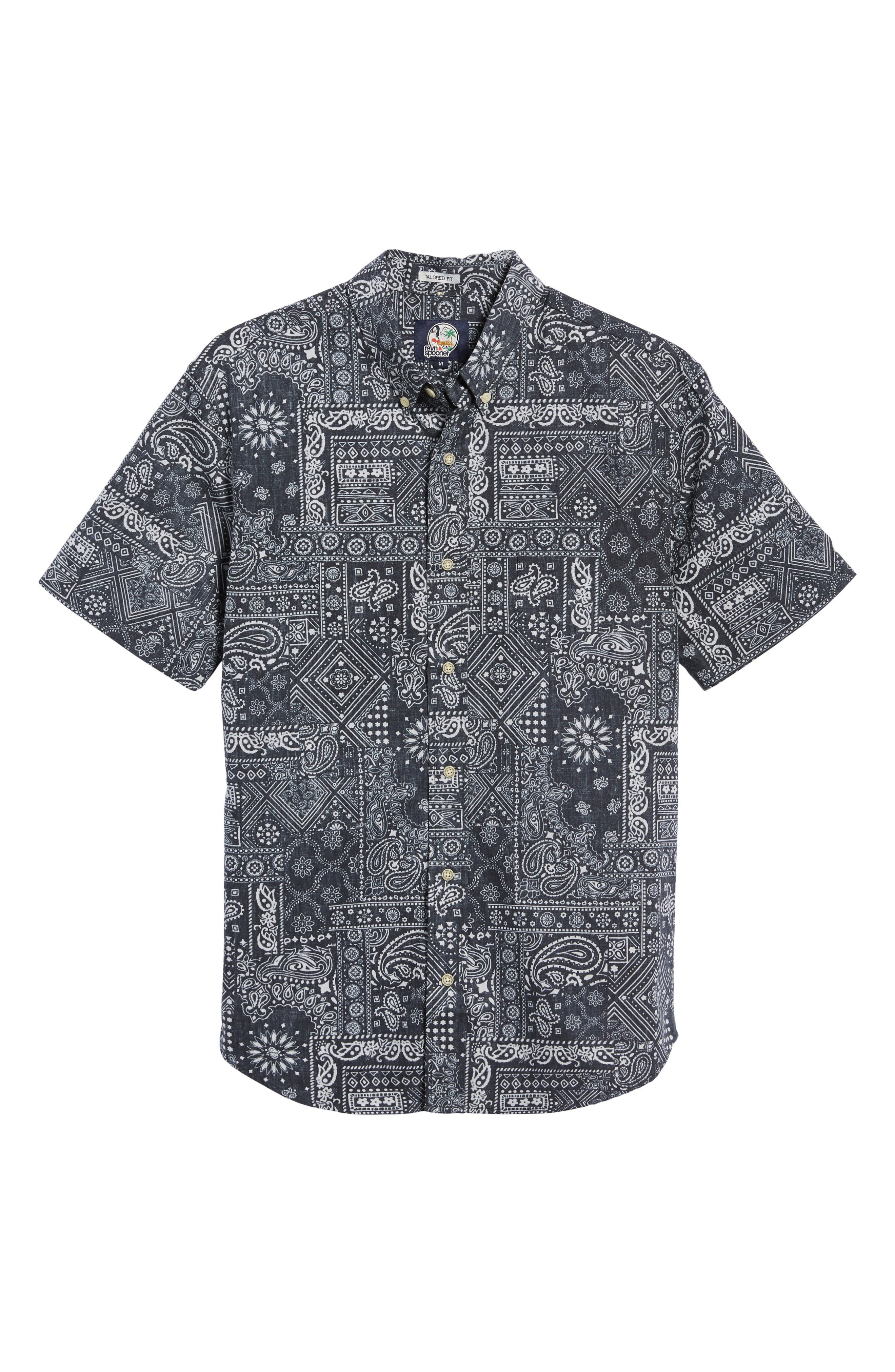 REYN SPOONER, Aloha Bandana Regular Fit Sport Shirt, Alternate thumbnail 5, color, 001