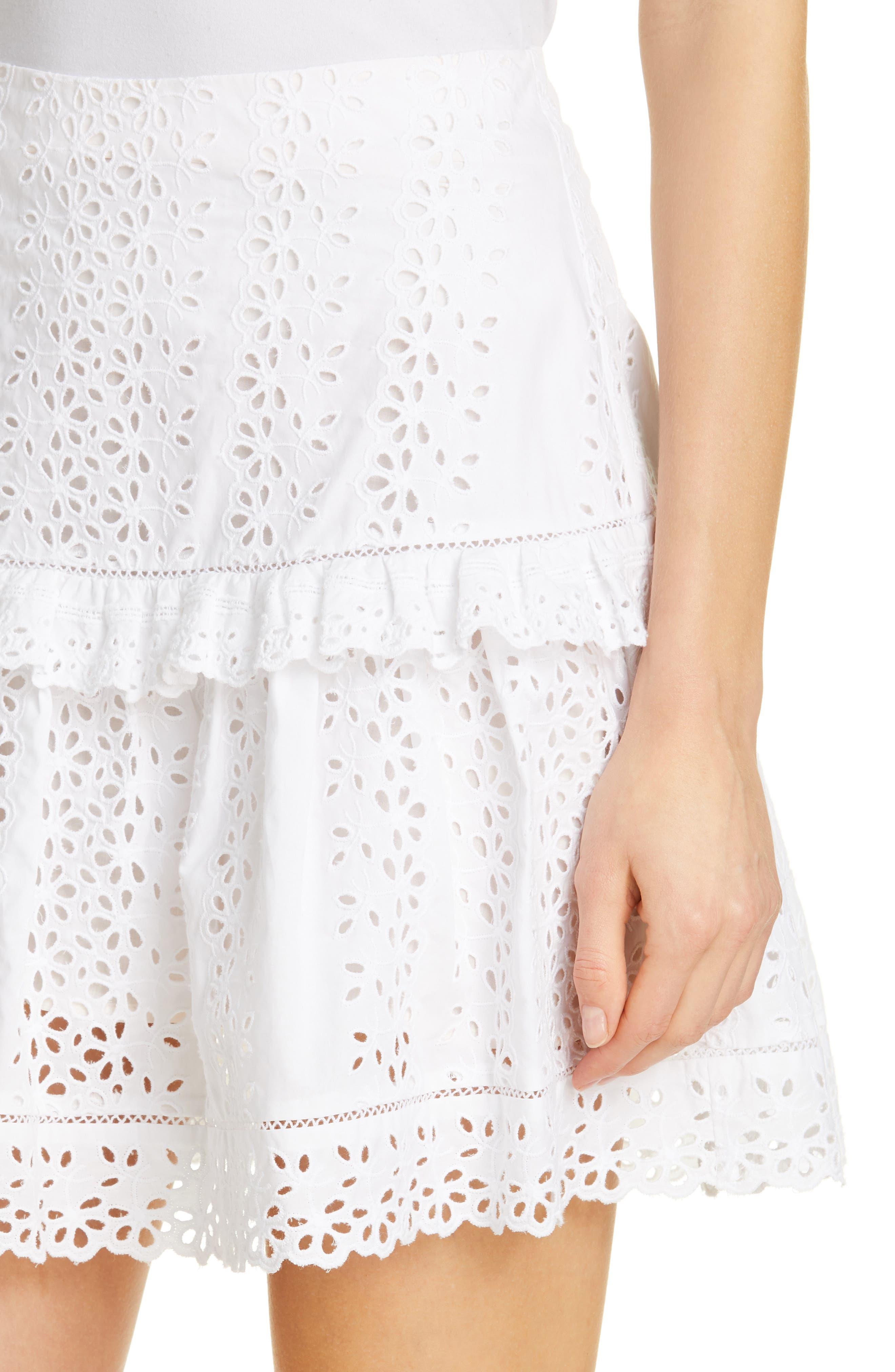 REBECCA TAYLOR, Karina Cotton Eyelet Skirt, Alternate thumbnail 4, color, MILK