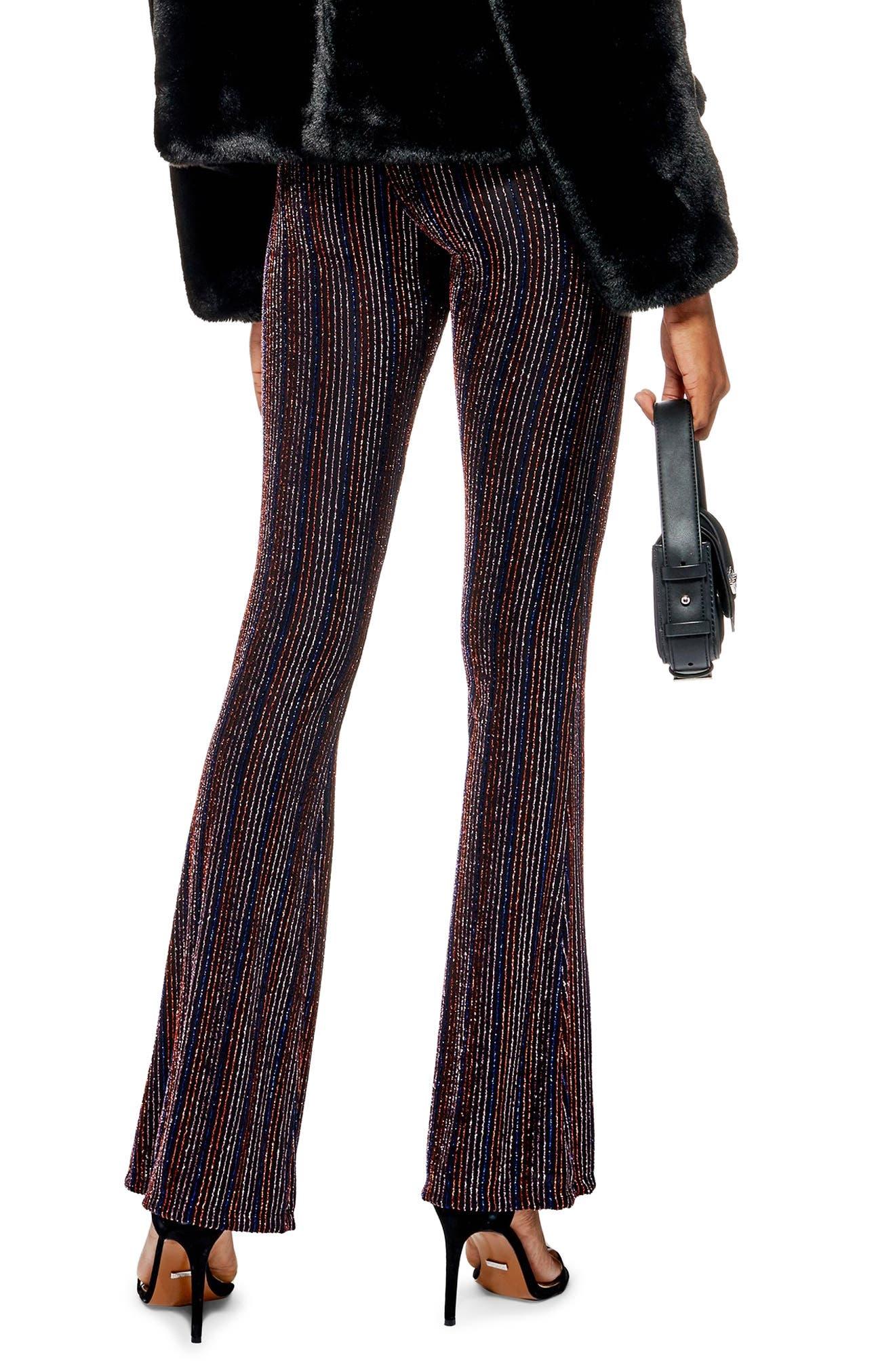 TOPSHOP, Glitter Stripe Flare Leg Pants, Alternate thumbnail 2, color, 001
