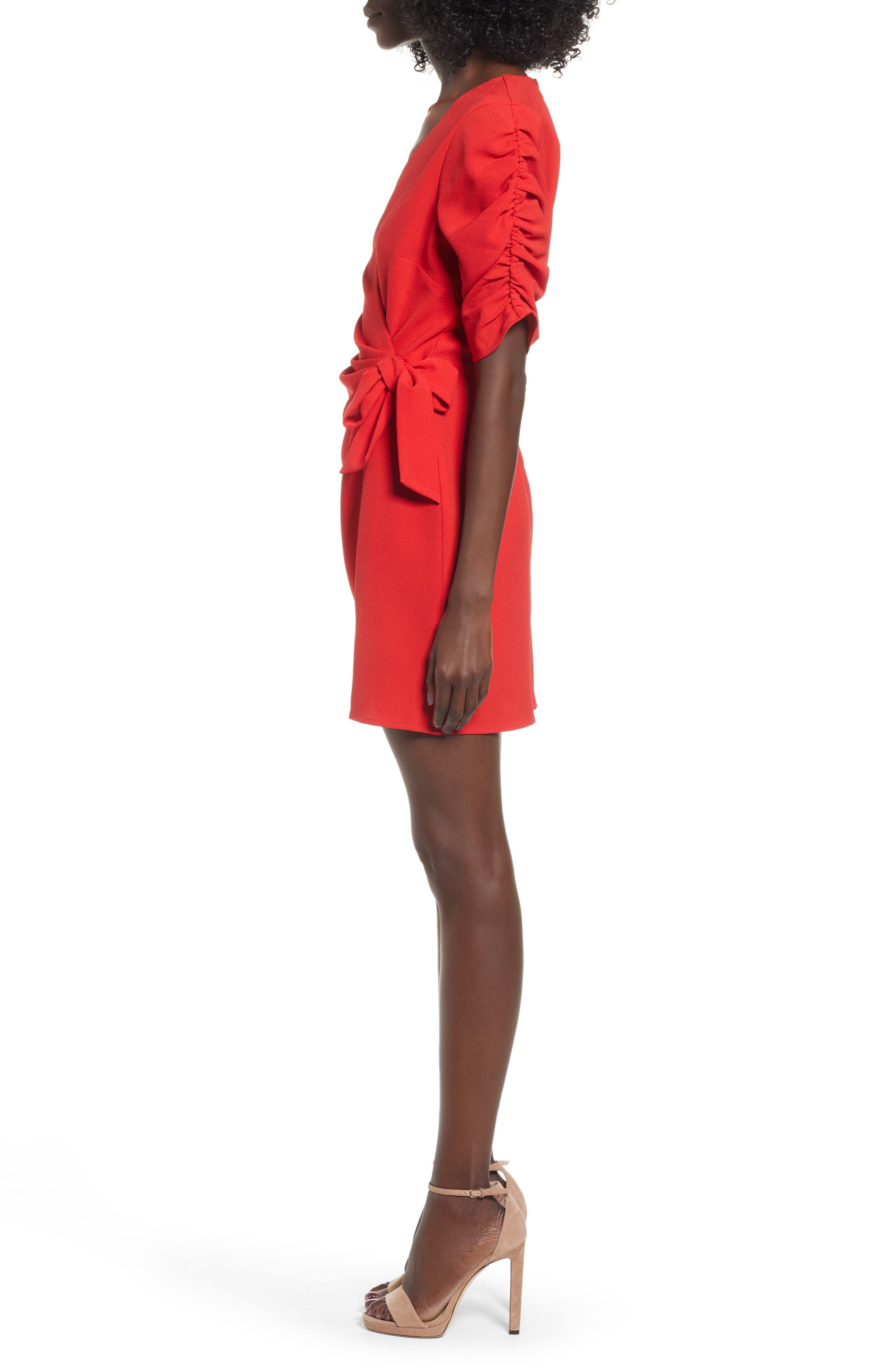 SPEECHLESS, Cinch Sleeve Faux Wrap Dress, Alternate thumbnail 4, color, 600