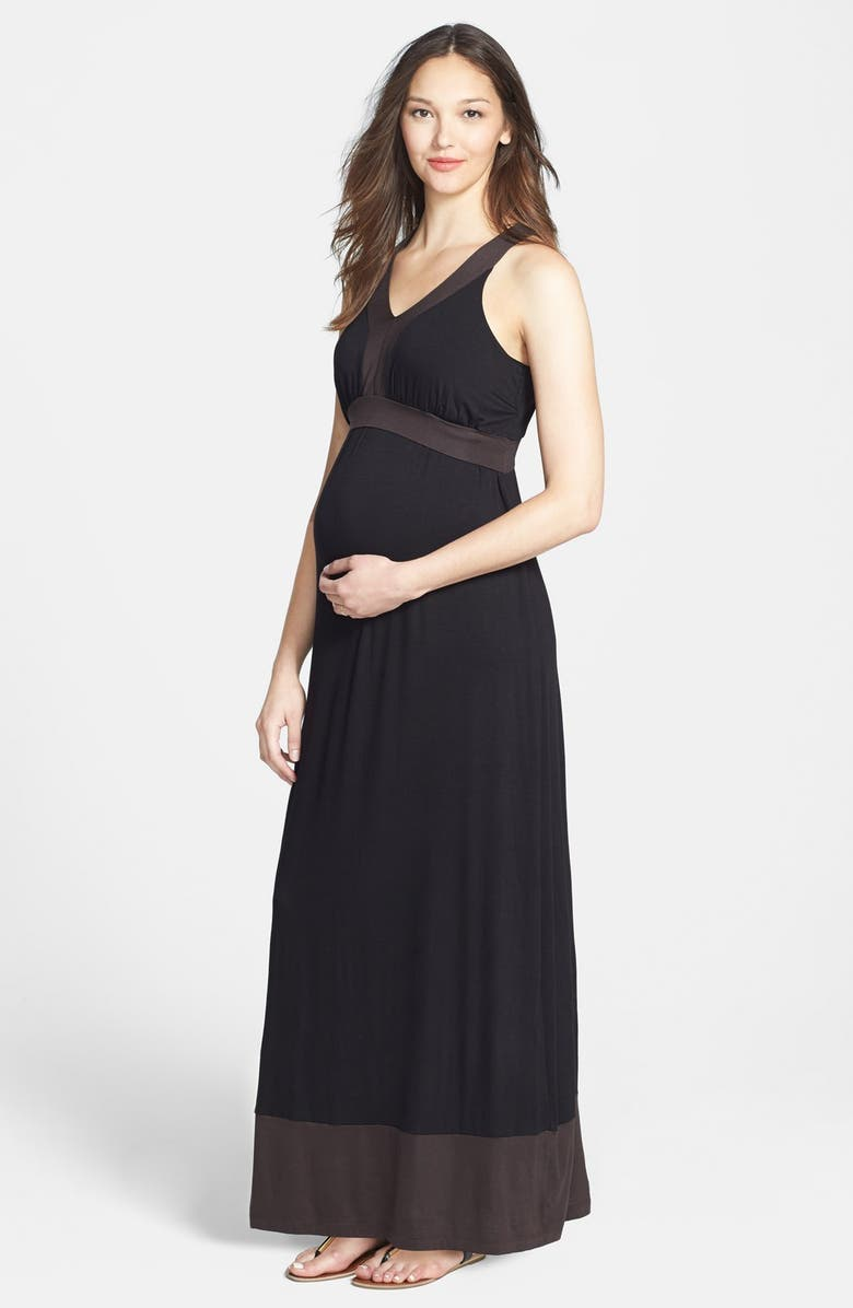 4c30769315e44 JAPANESE WEEKEND Colorblock Maxi Maternity Dress, Main, color, 001
