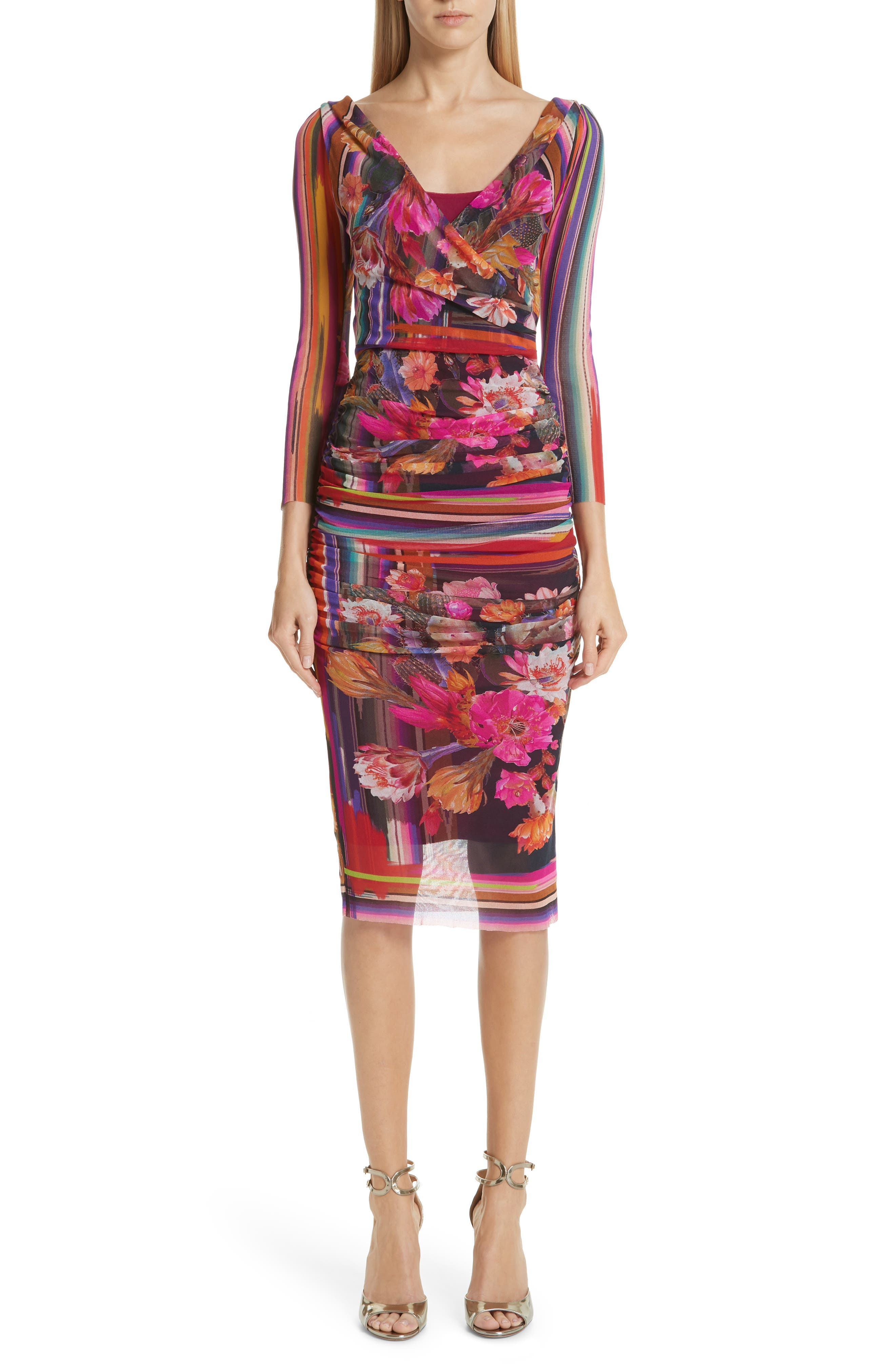 Fuzzi Cactus Print Tulle Dress, Pink