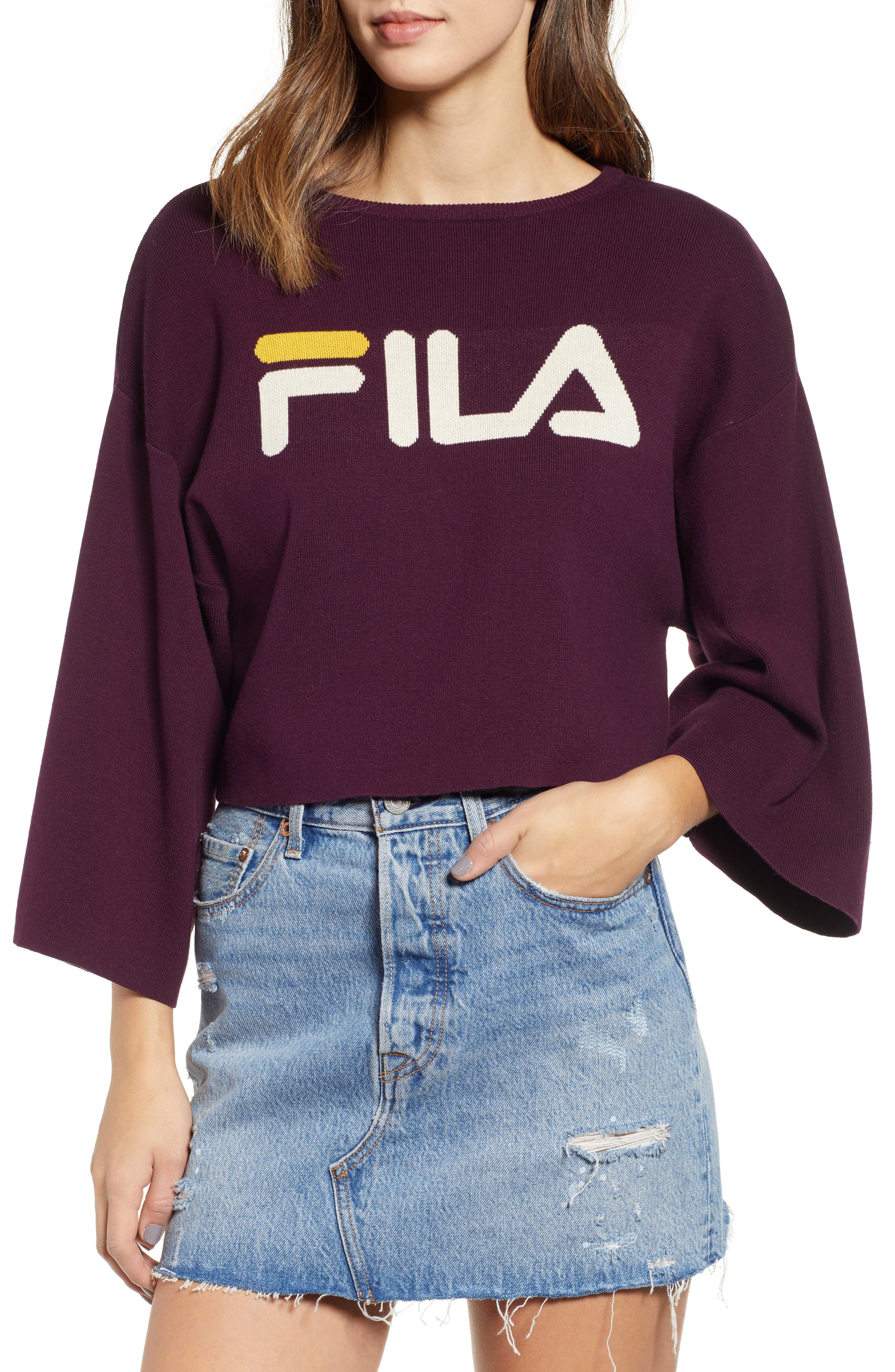 FILA, Palmira Crop Sweater, Main thumbnail 1, color, POTENT PURPLE